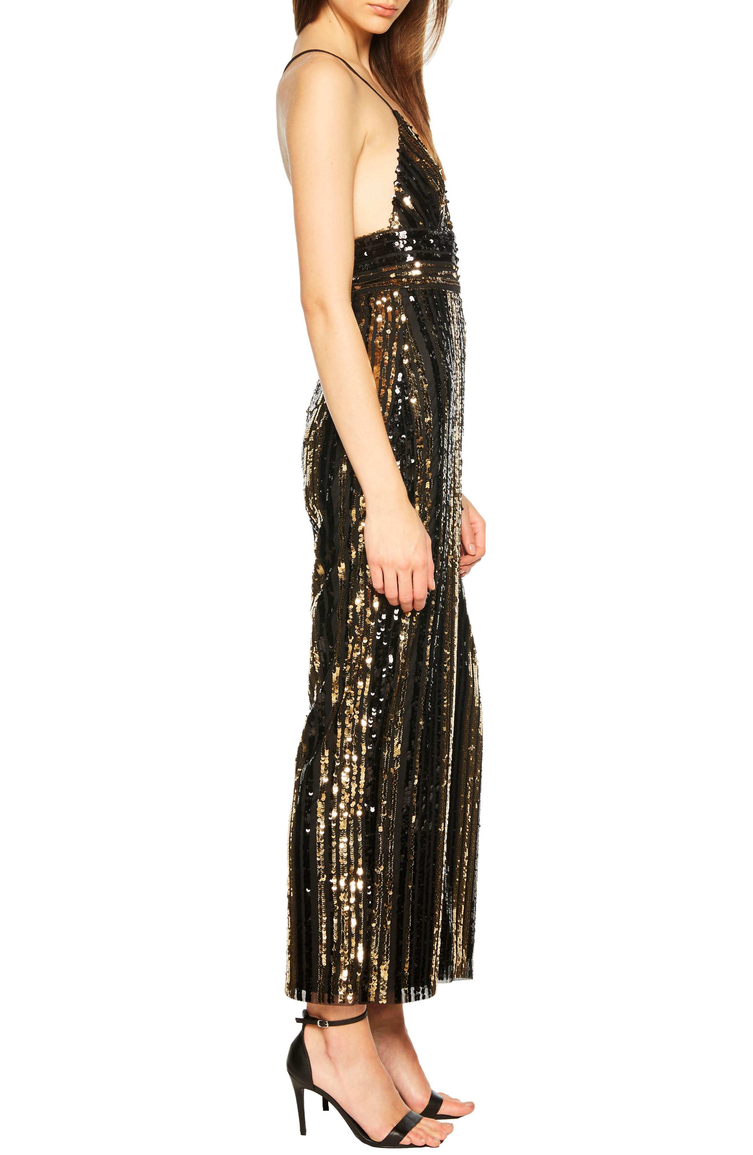 Goldie Sequin Stripe Jumpsuit,                             Alternate thumbnail 3, color,                             GOLD STRIPE