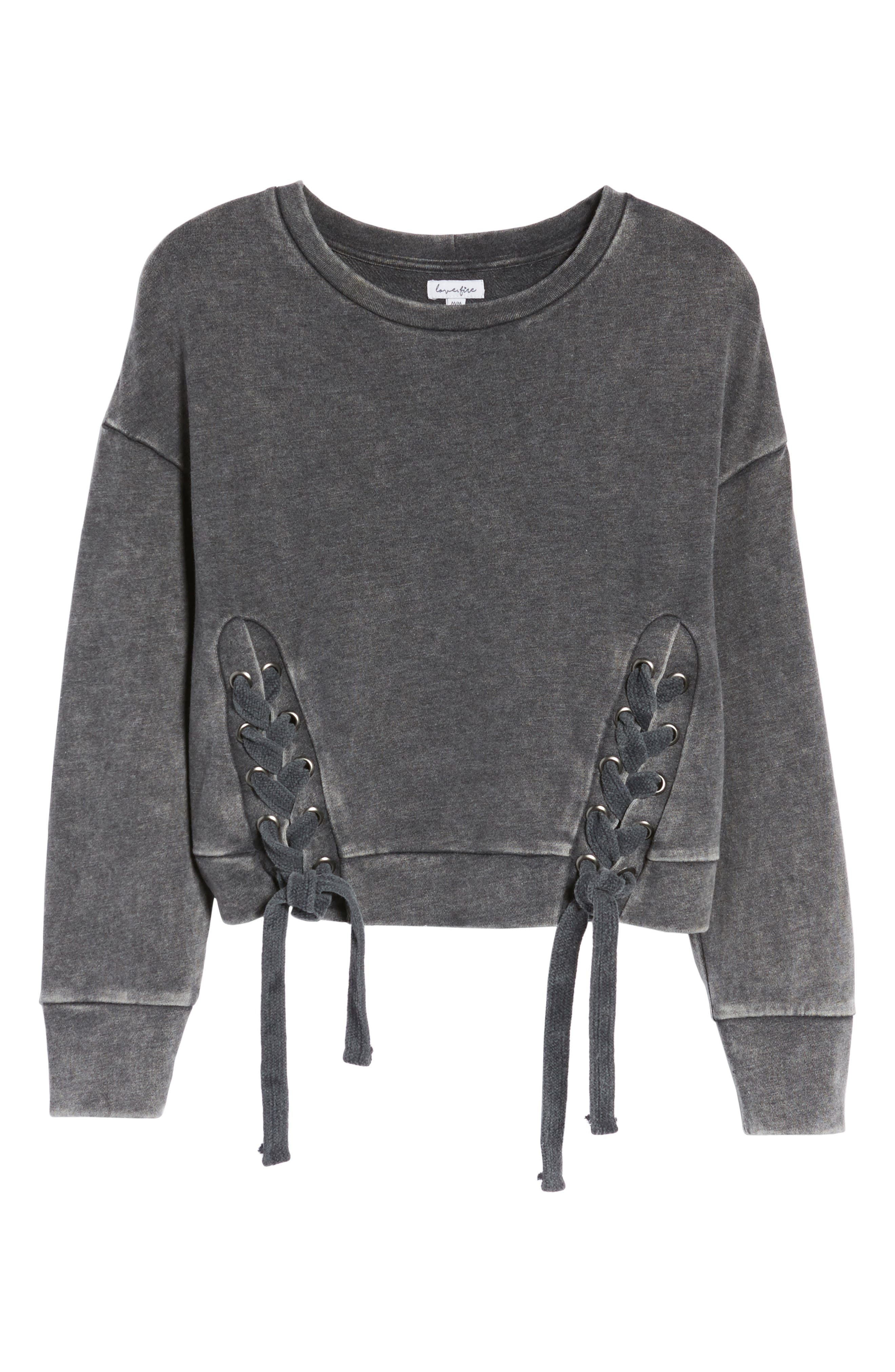 Lace-Up Fleece Pullover,                             Alternate thumbnail 6, color,                             001