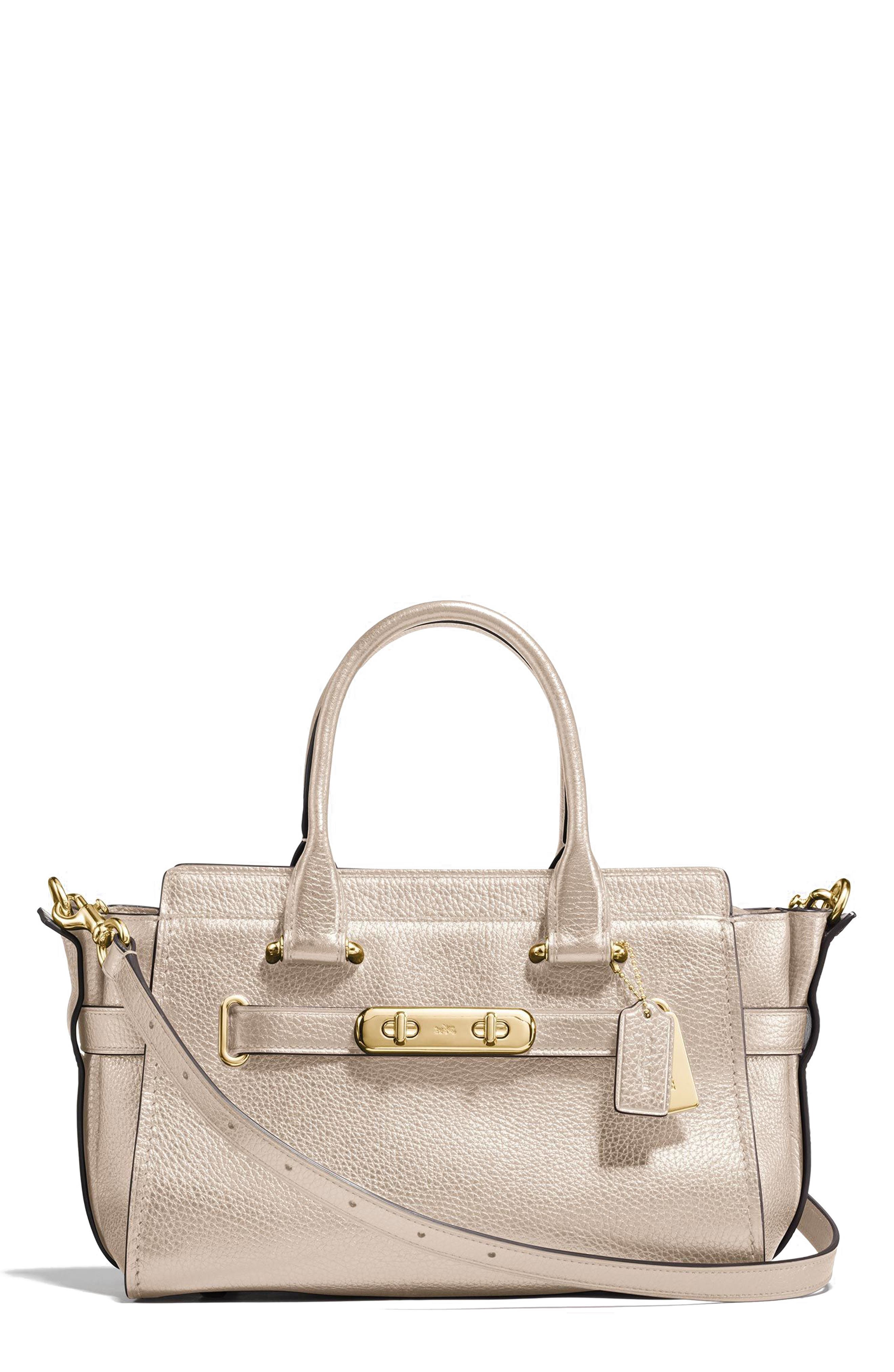 Swagger 27 Metallic Pebbled Leather Satchel,                             Main thumbnail 2, color,