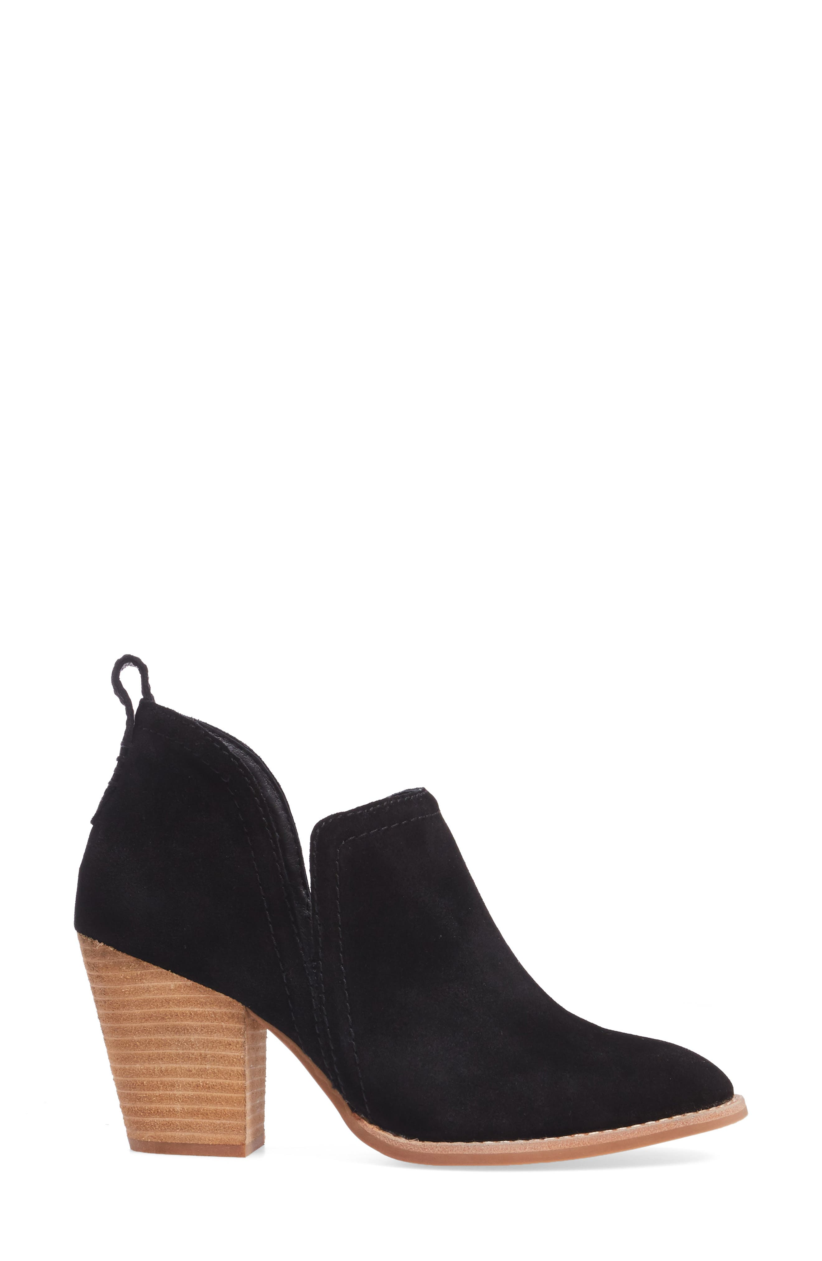 Rosalee Bootie,                             Alternate thumbnail 3, color,                             BLACK OILED SUEDE