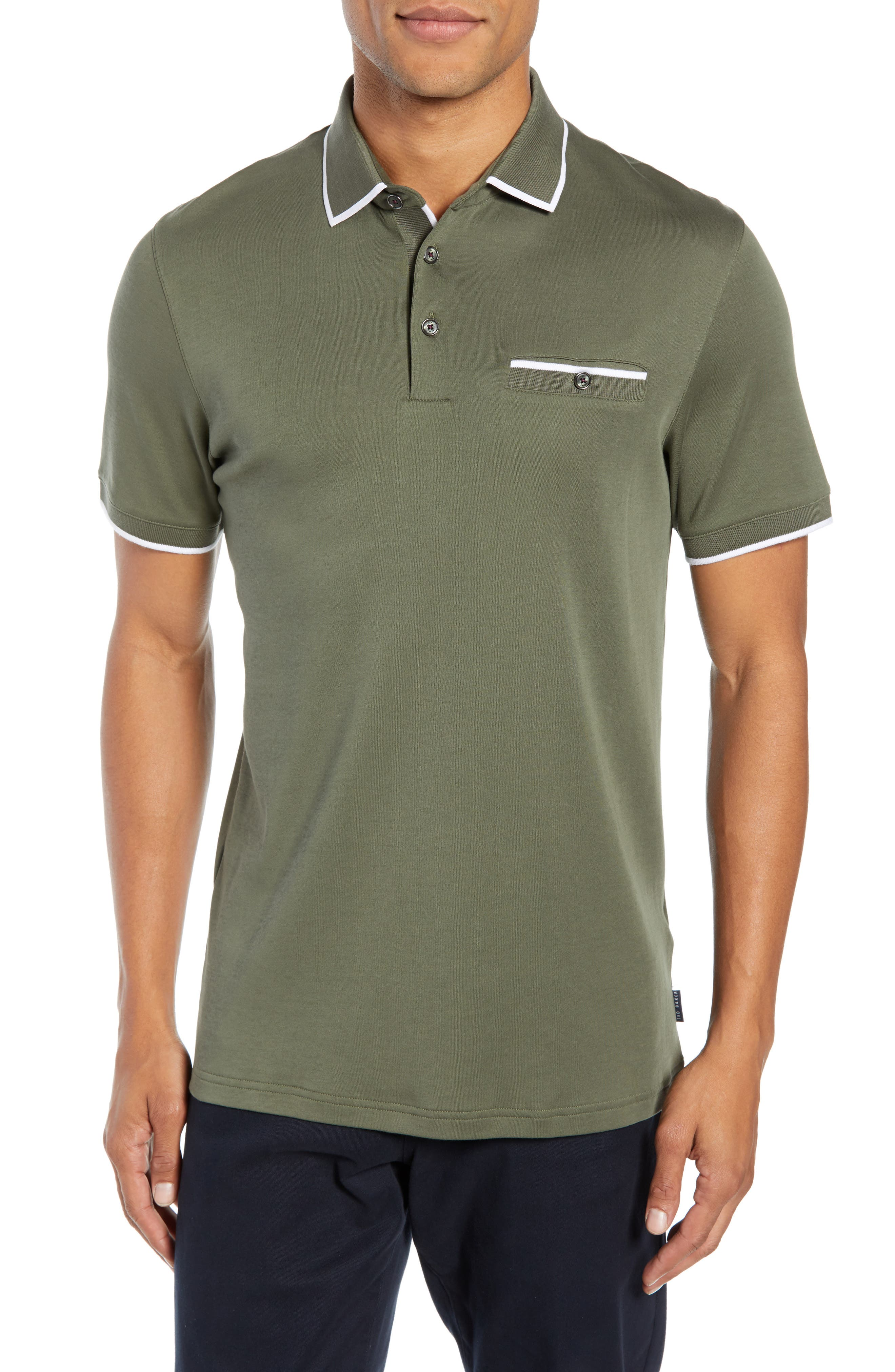 Jelly Slim Fit Tipped Pocket Polo,                         Main,                         color, KHAKI