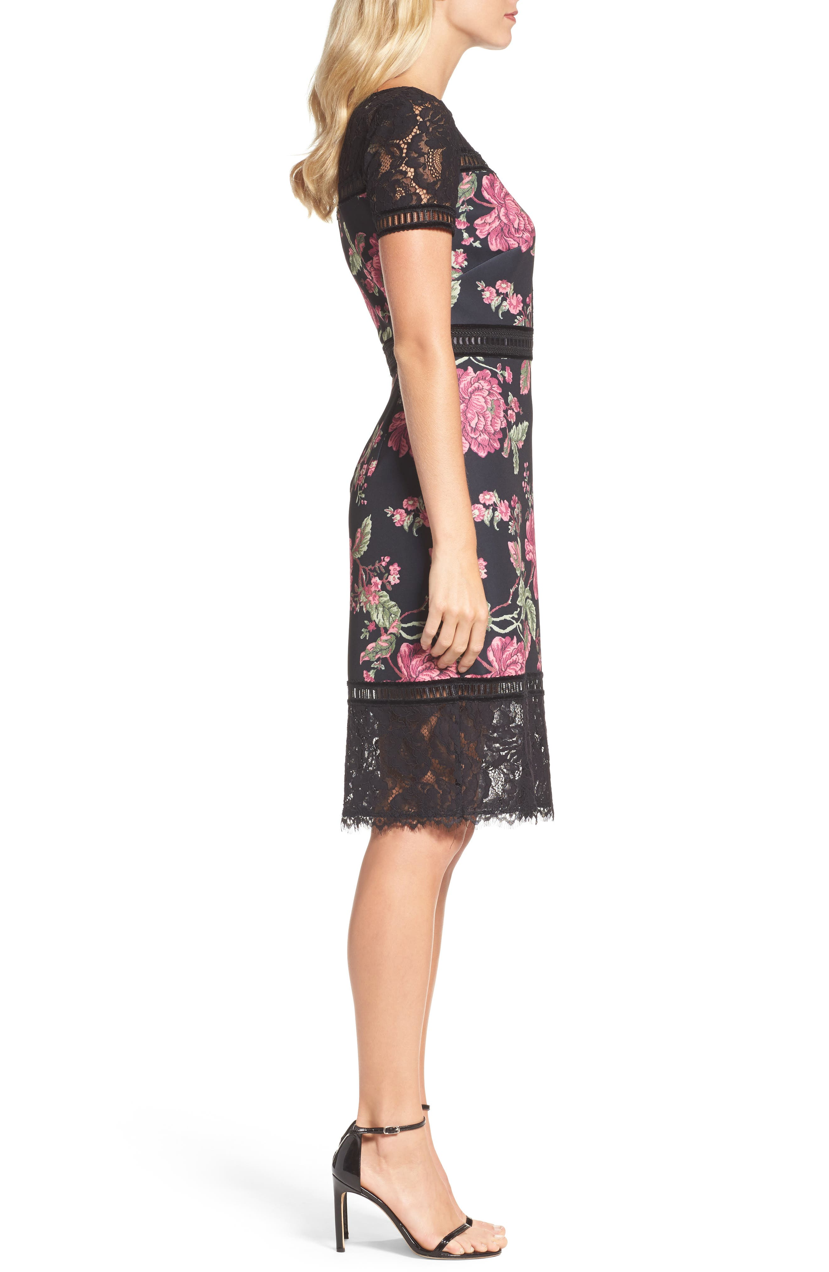 Floral Neoprene & Lace Sheath Dress,                             Alternate thumbnail 3, color,                             BLACK