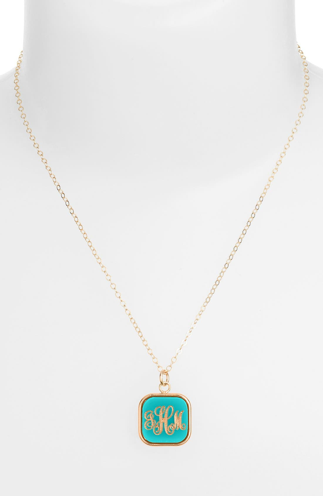 MOON AND LOLA 'Vineyard' Personalized Monogram Pendant Necklace in Robins Egg