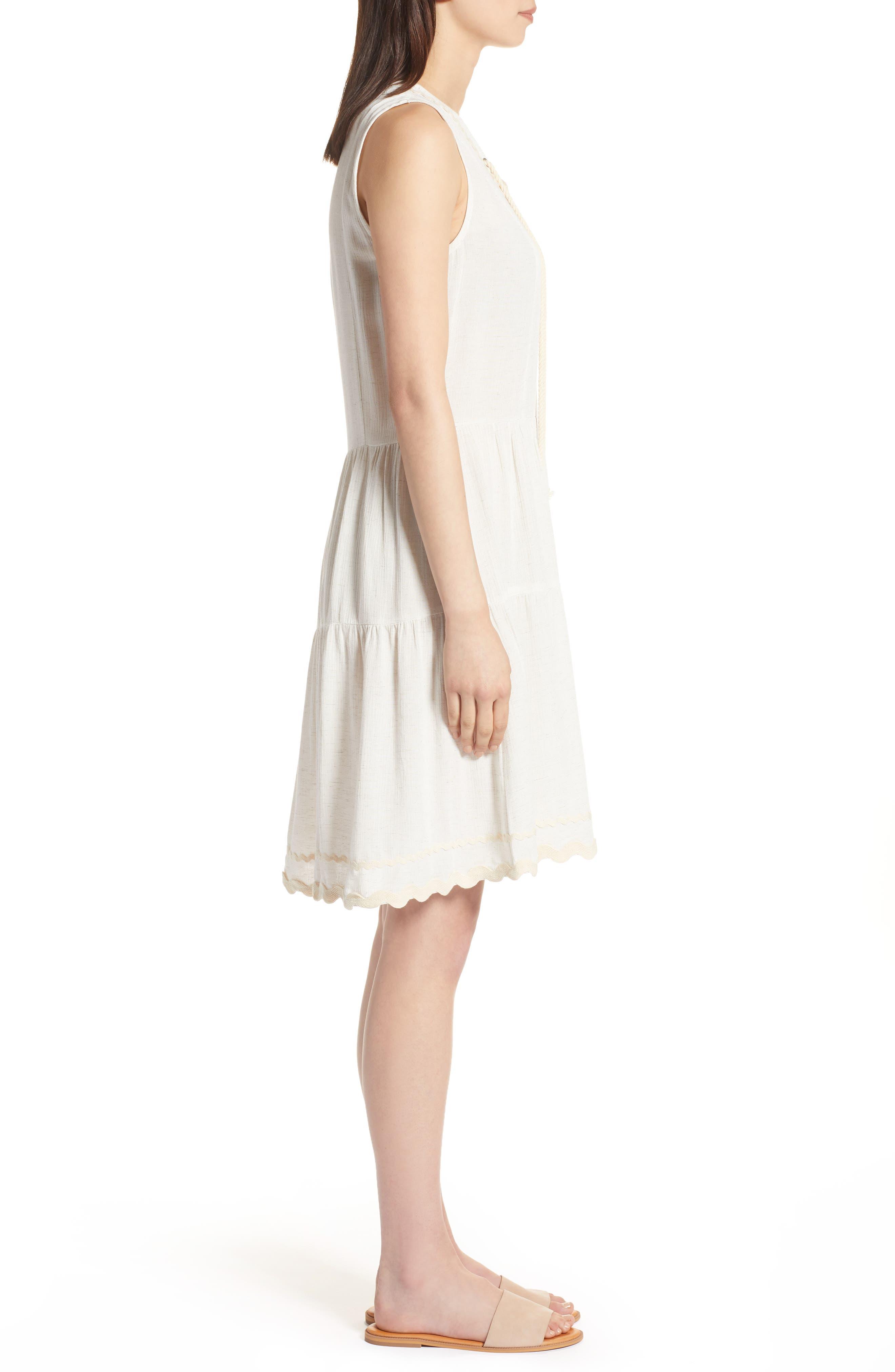 Rickrack Lace-Up Gauze Dress,                             Alternate thumbnail 3, color,                             101