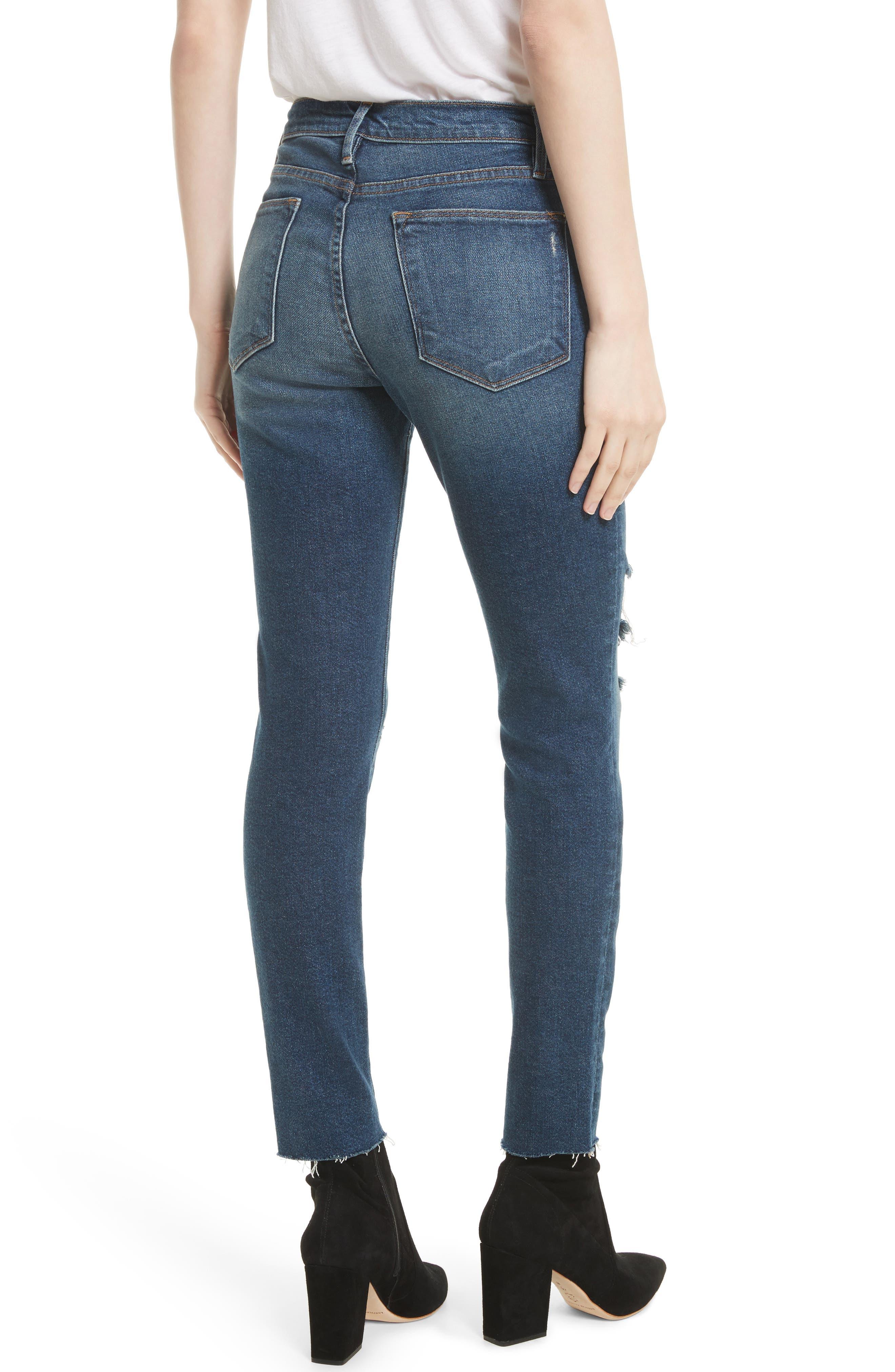 Le High Raw Edge Skinny Jeans,                             Alternate thumbnail 2, color,                             420