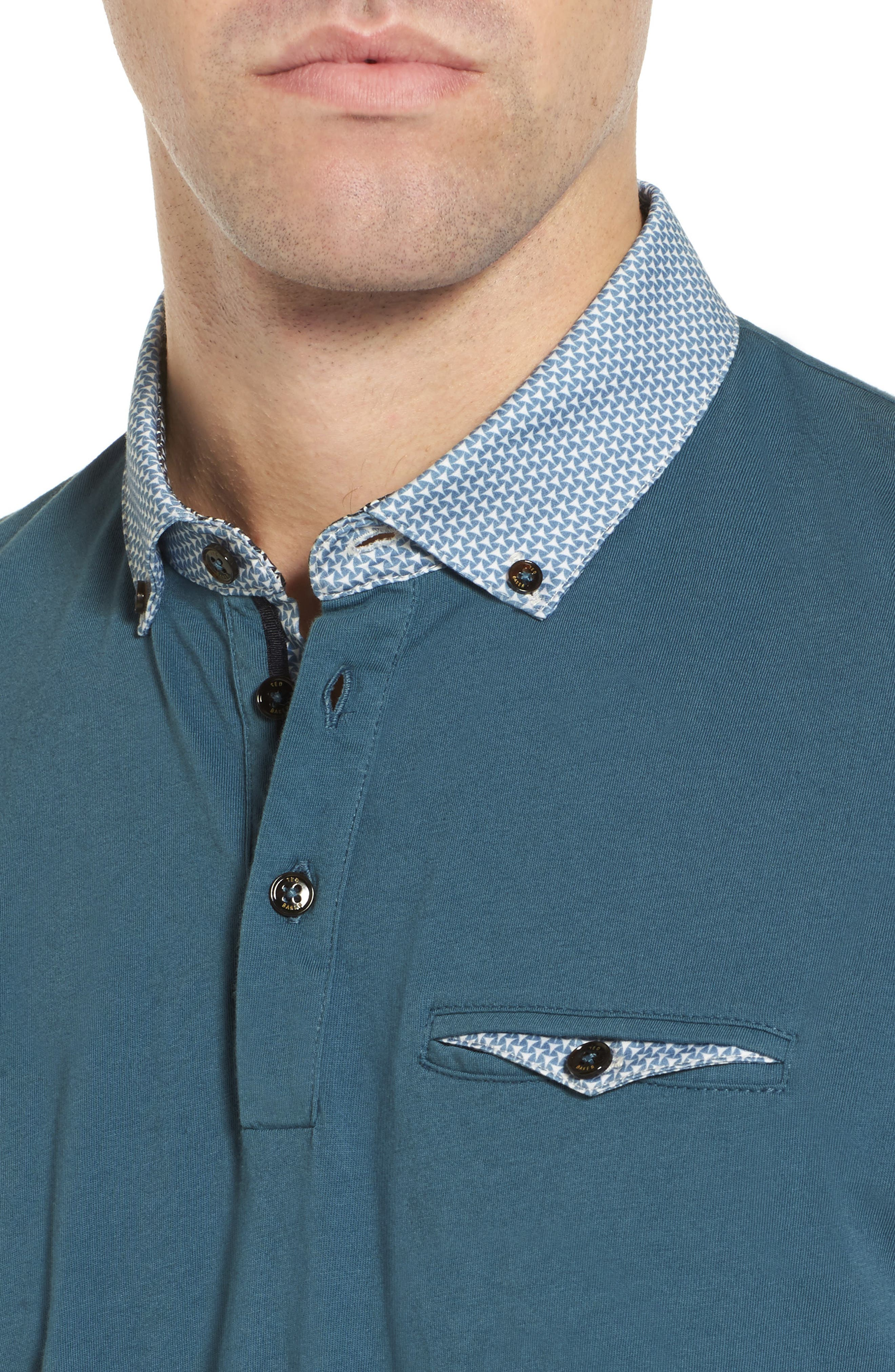 Movey Trim Fit Woven Geo Polo,                             Alternate thumbnail 4, color,                             400