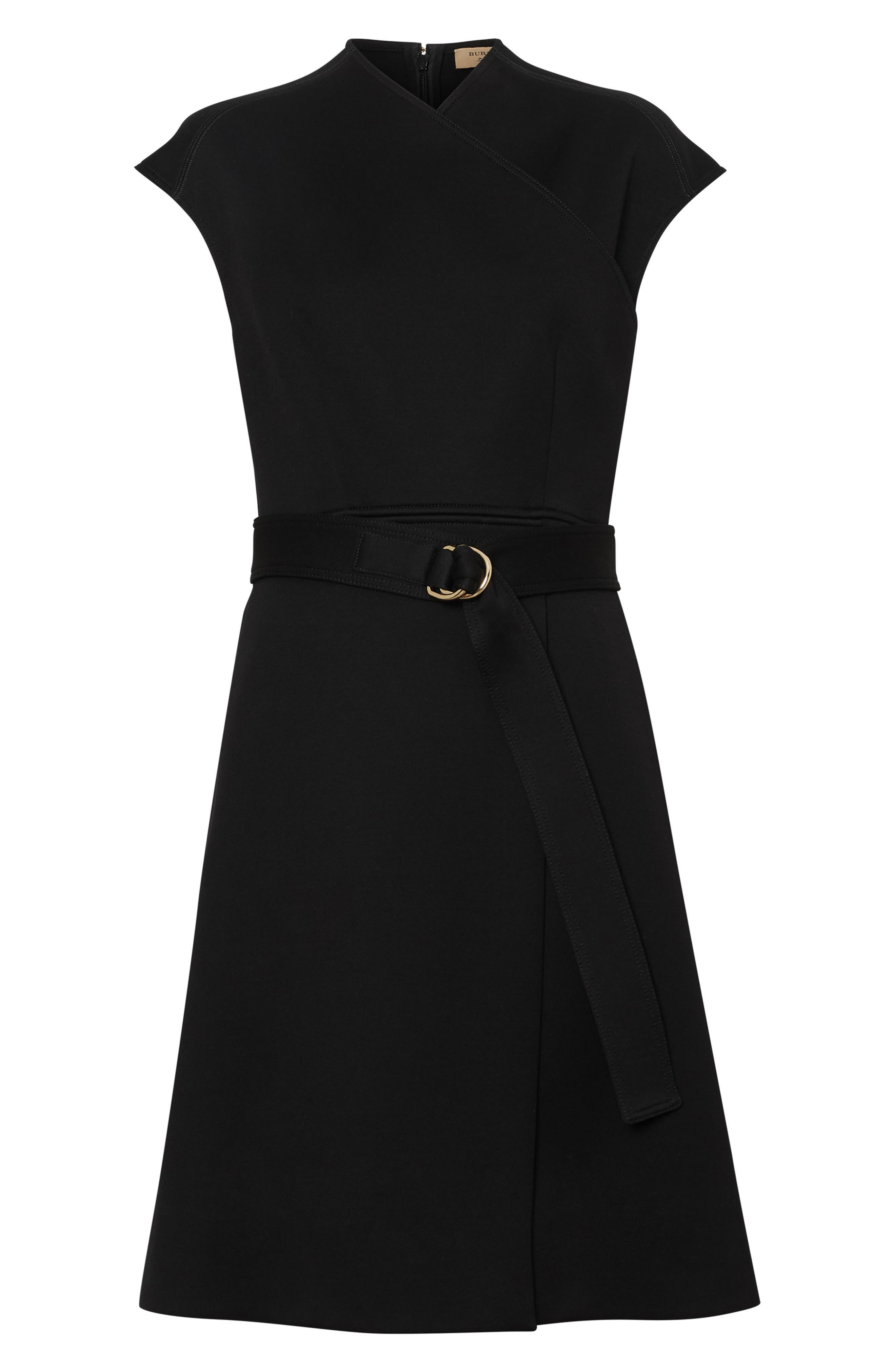 Dulsie D-Ring Detail Bonded Jersey Dress,                             Alternate thumbnail 4, color,                             BLACK