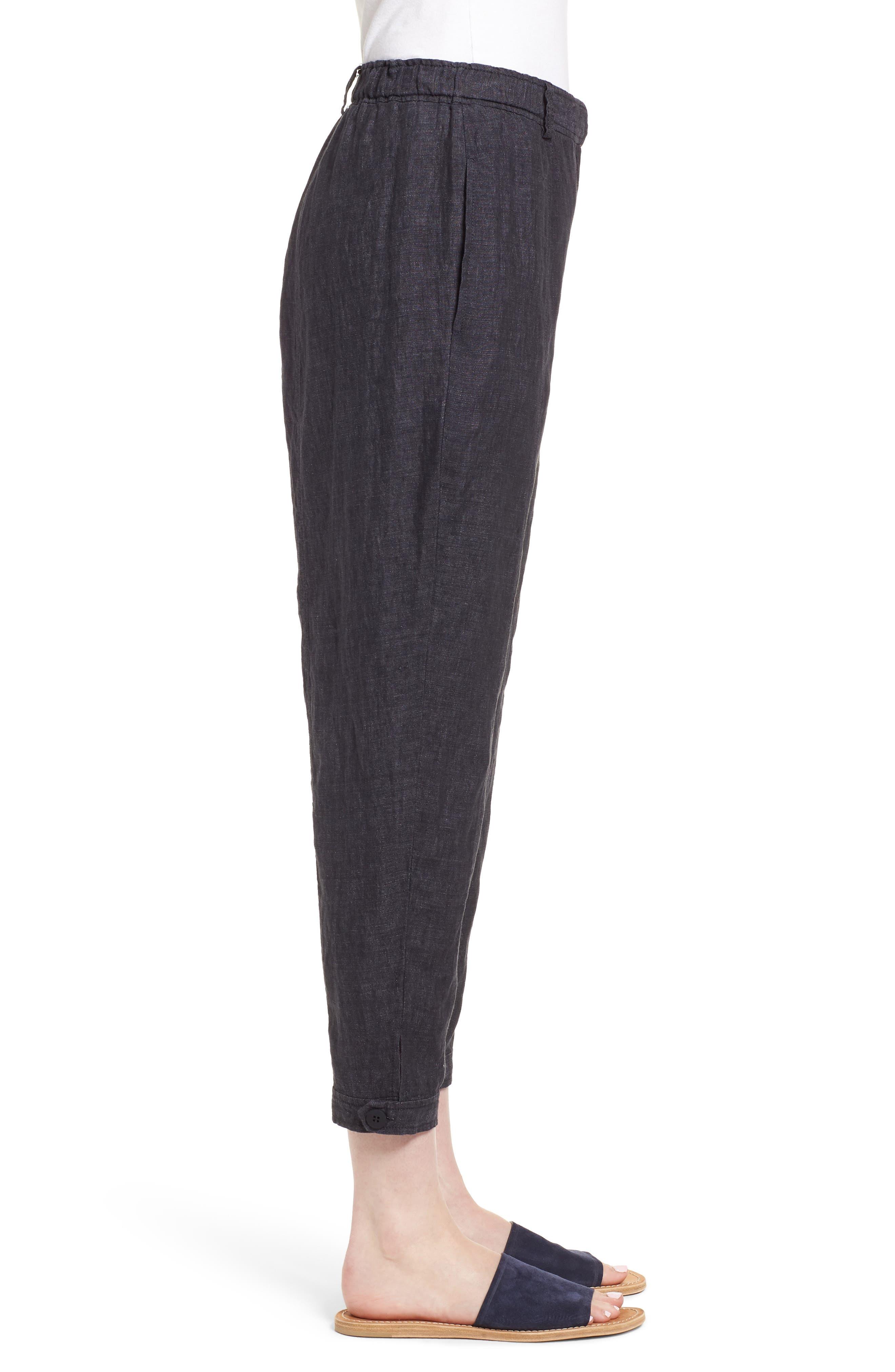 Easy Ankle Organic Linen Pants,                             Alternate thumbnail 3, color,                             080
