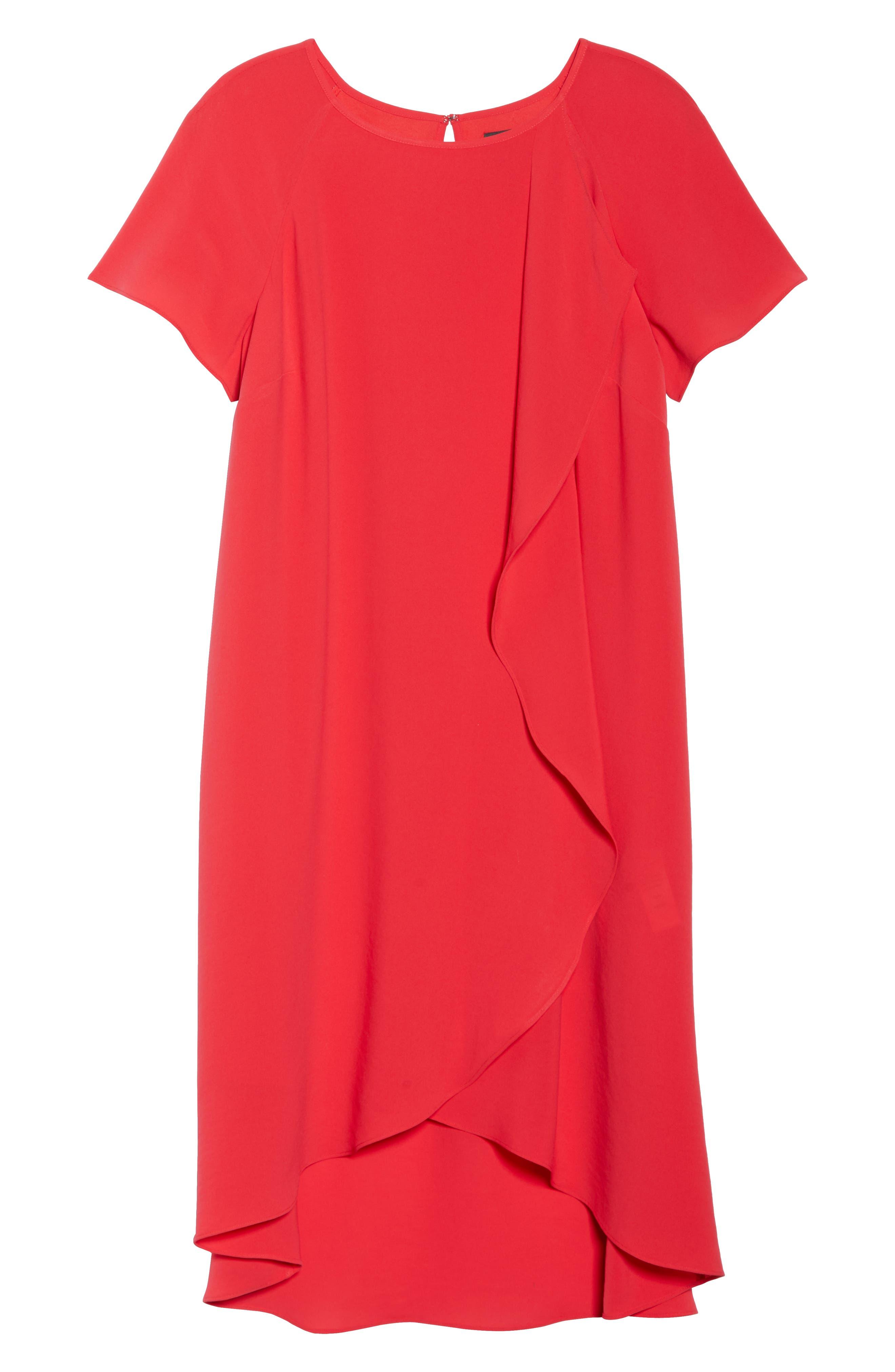 Crepe Ruffle Drape Shift Dress,                             Alternate thumbnail 7, color,                             GERANIUM