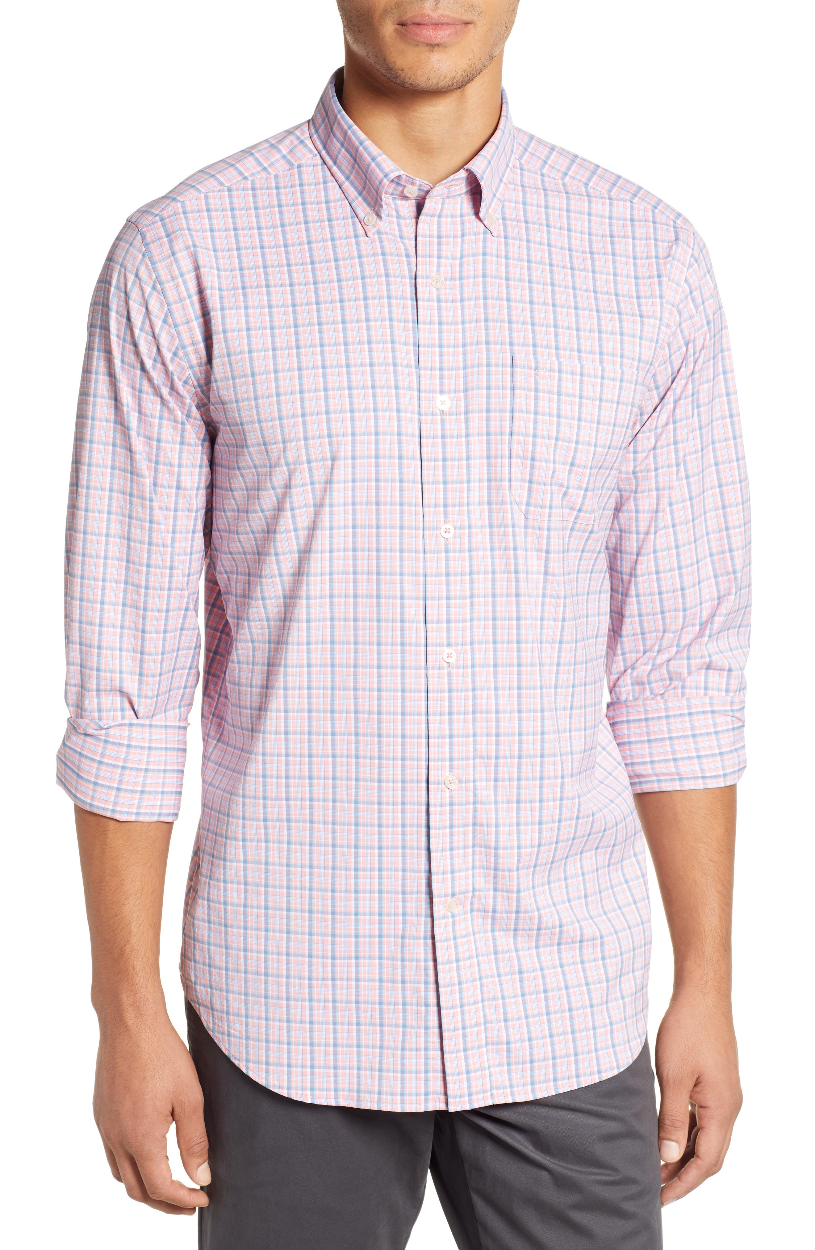 SOUTHERN TIDE Staycation Intercoastal Regular Fit Plaid Performance Sport Shirt in Flamingo Pink