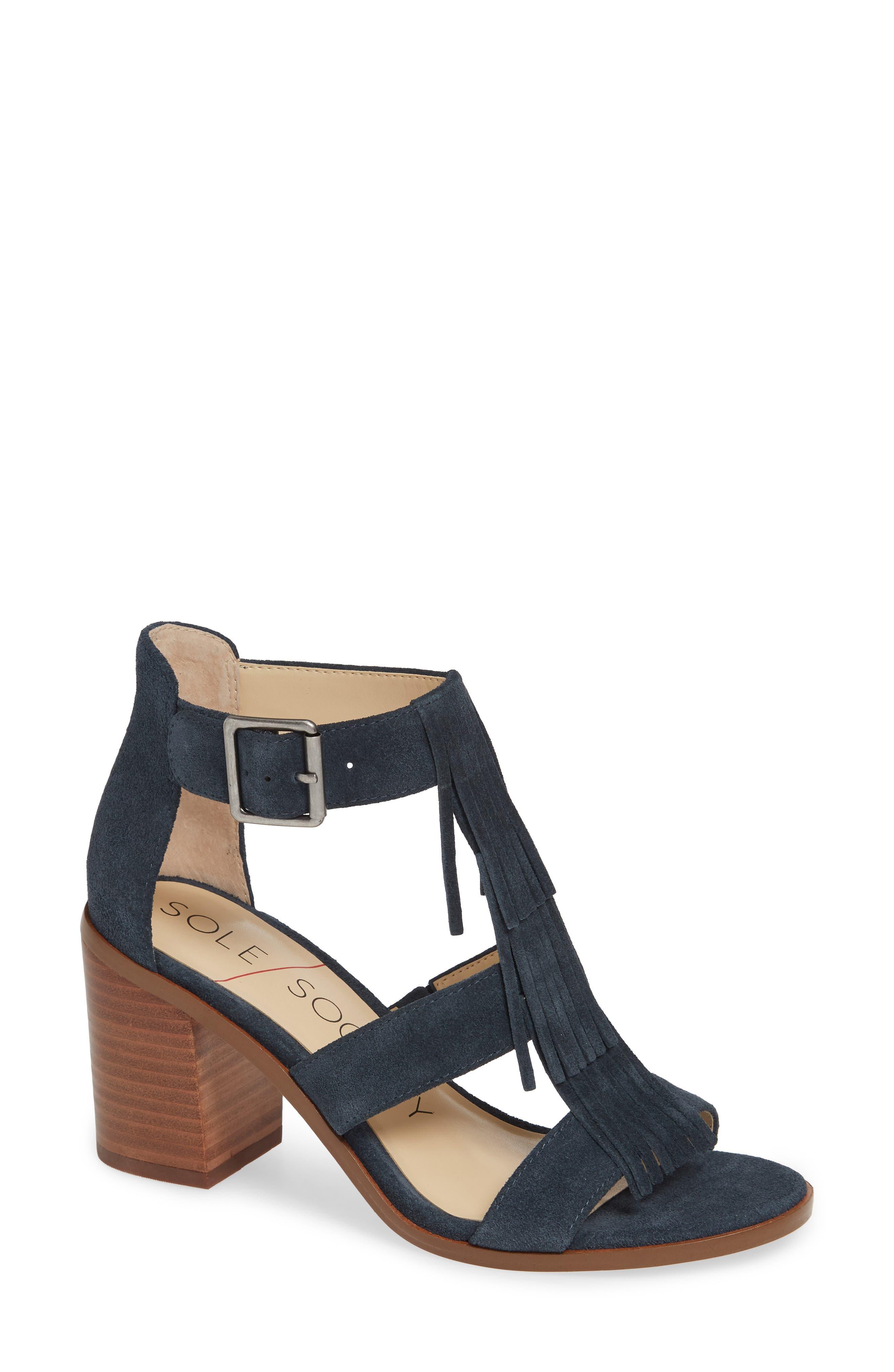 SOLE SOCIETY 'Delilah' Fringe Sandal, Main, color, INK SUEDE