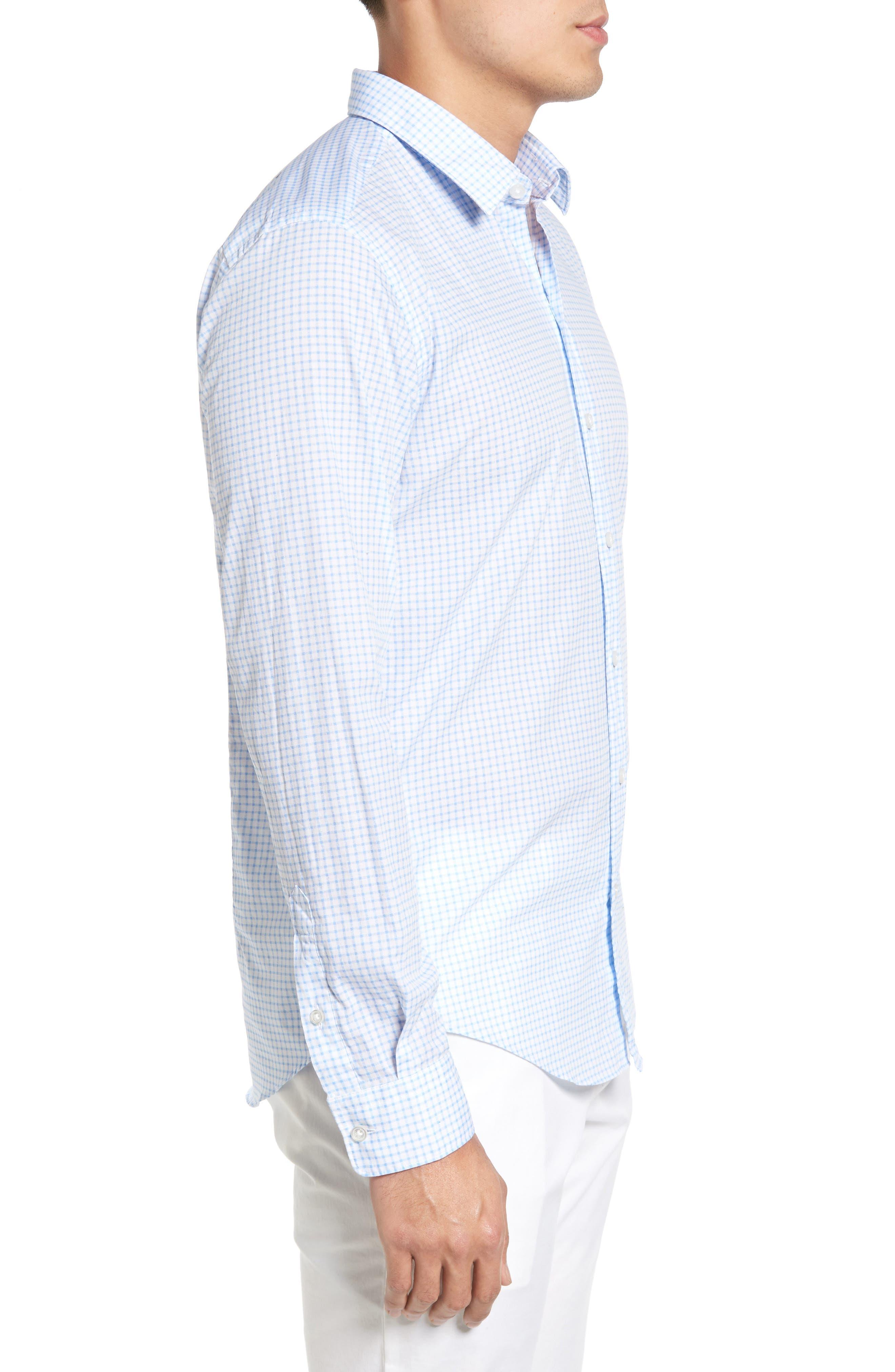 Robbie Trim Fit Check Sport Shirt,                             Alternate thumbnail 3, color,                             100