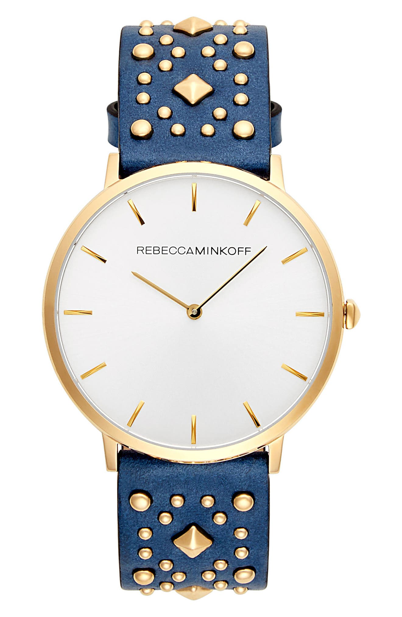 Major Embellished Leather Strap Watch, 40mm,                             Main thumbnail 1, color,                             BLUE/ WHITE/ GOLD