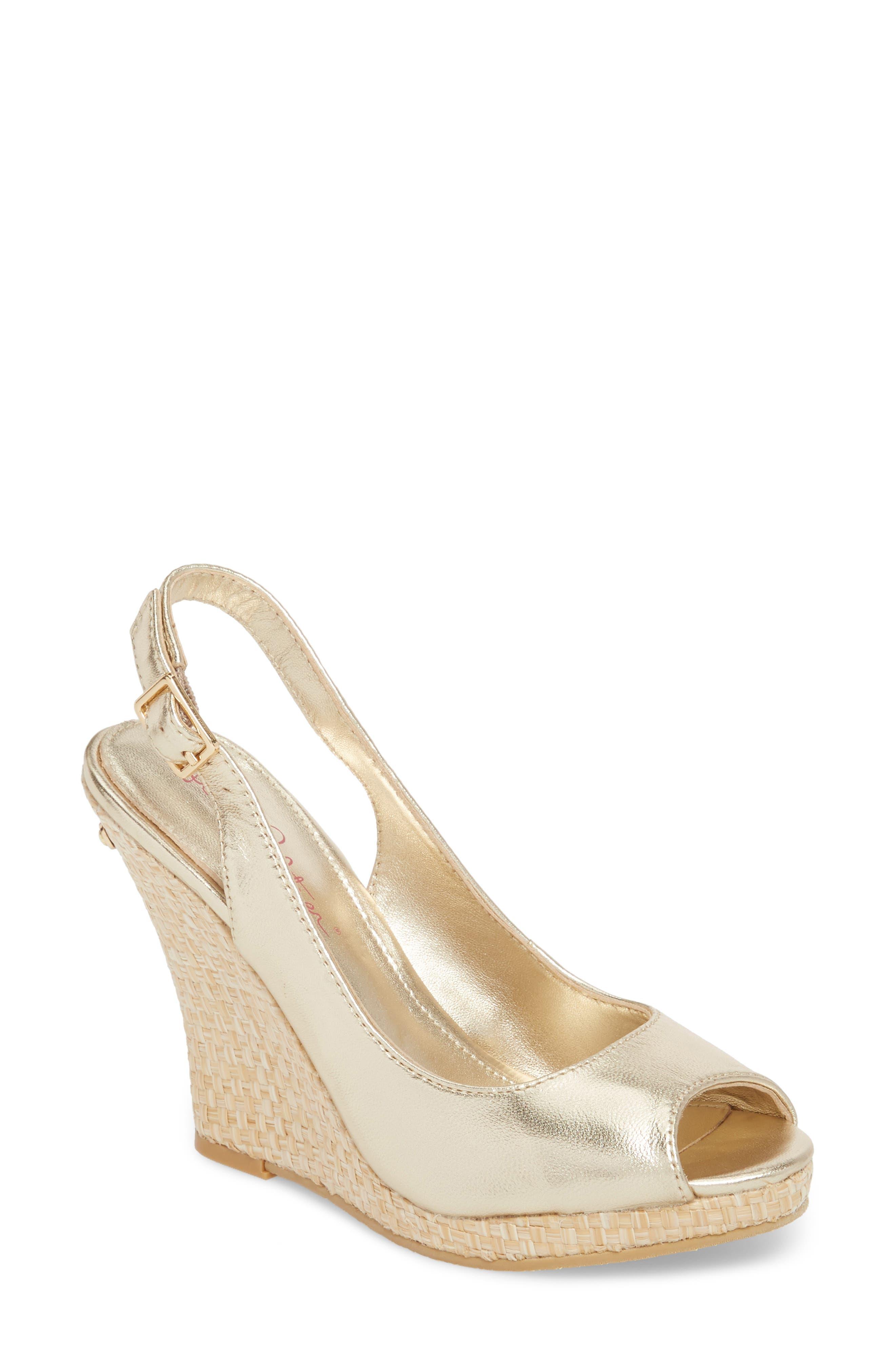 Kristin Slingback Wedge Sandal,                         Main,                         color, GOLD METALLIC LEATHER