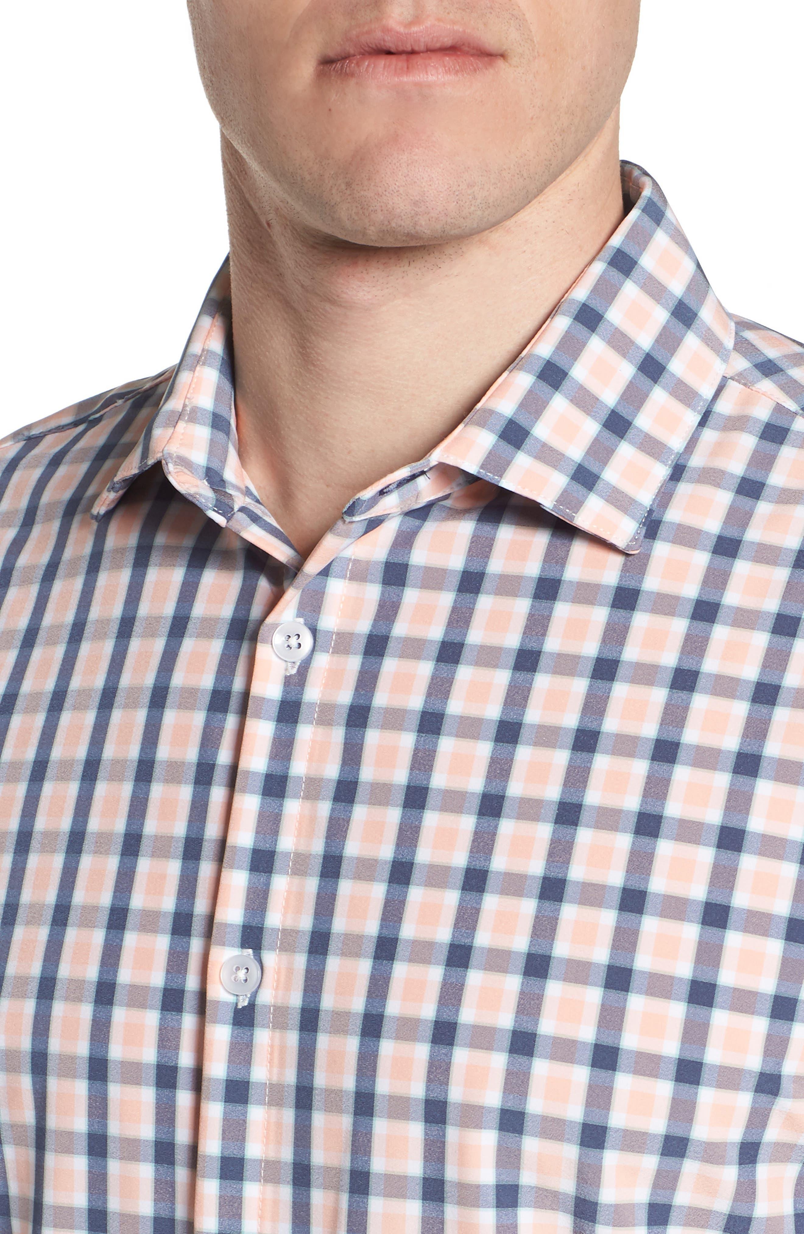 Brooks Check Performance Sport Shirt,                             Alternate thumbnail 4, color,                             650