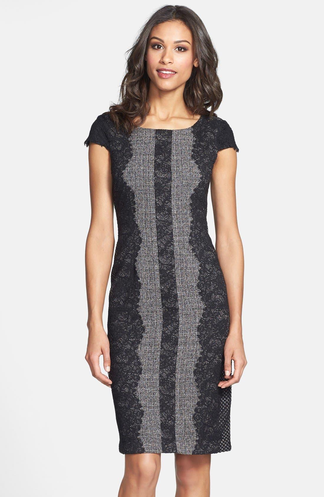 Lace Trim Tweed Sheath Dress,                             Alternate thumbnail 6, color,                             020