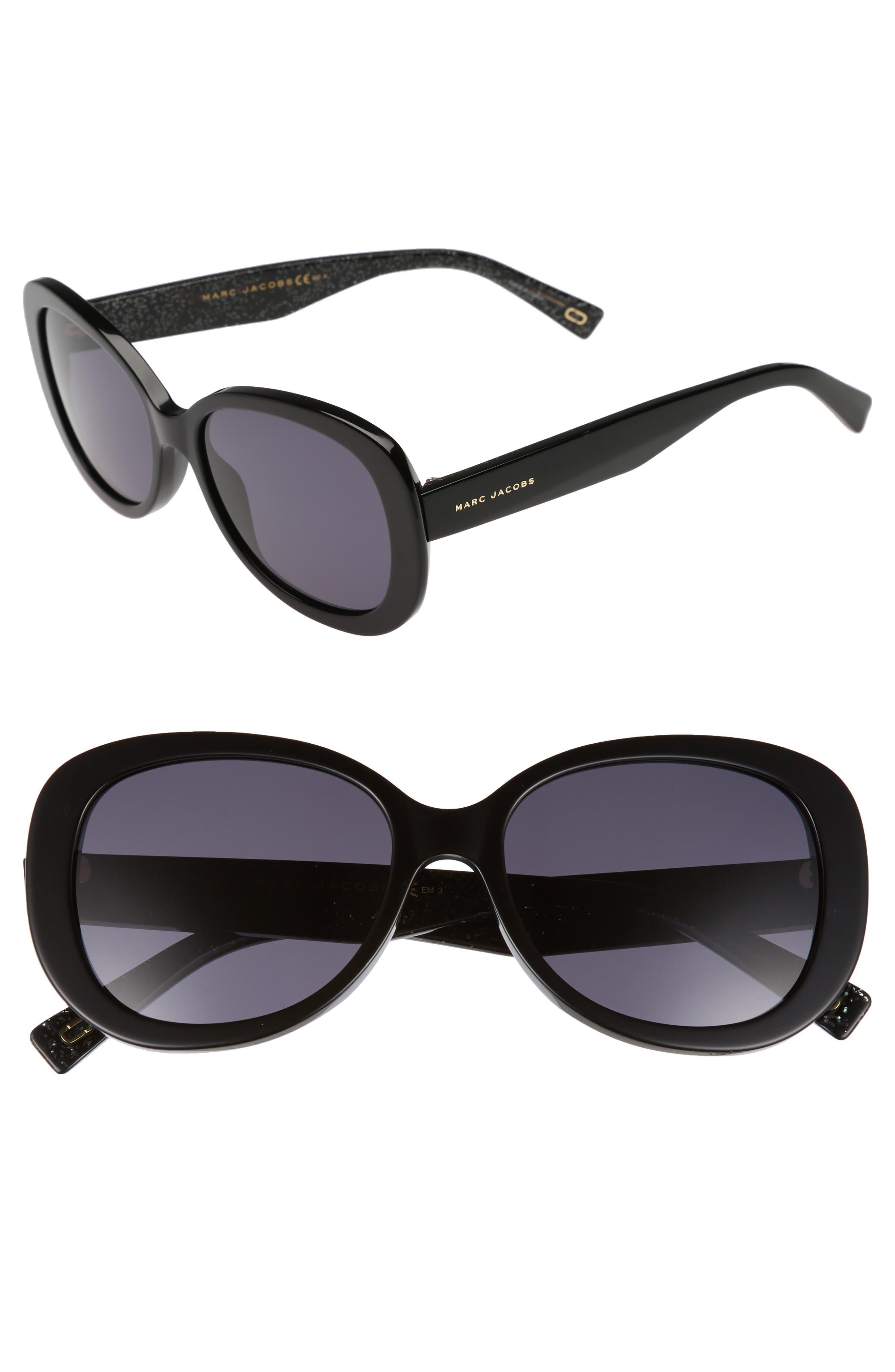 56mm Butterfly Sunglasses,                             Main thumbnail 1, color,                             BLACK GLITTER