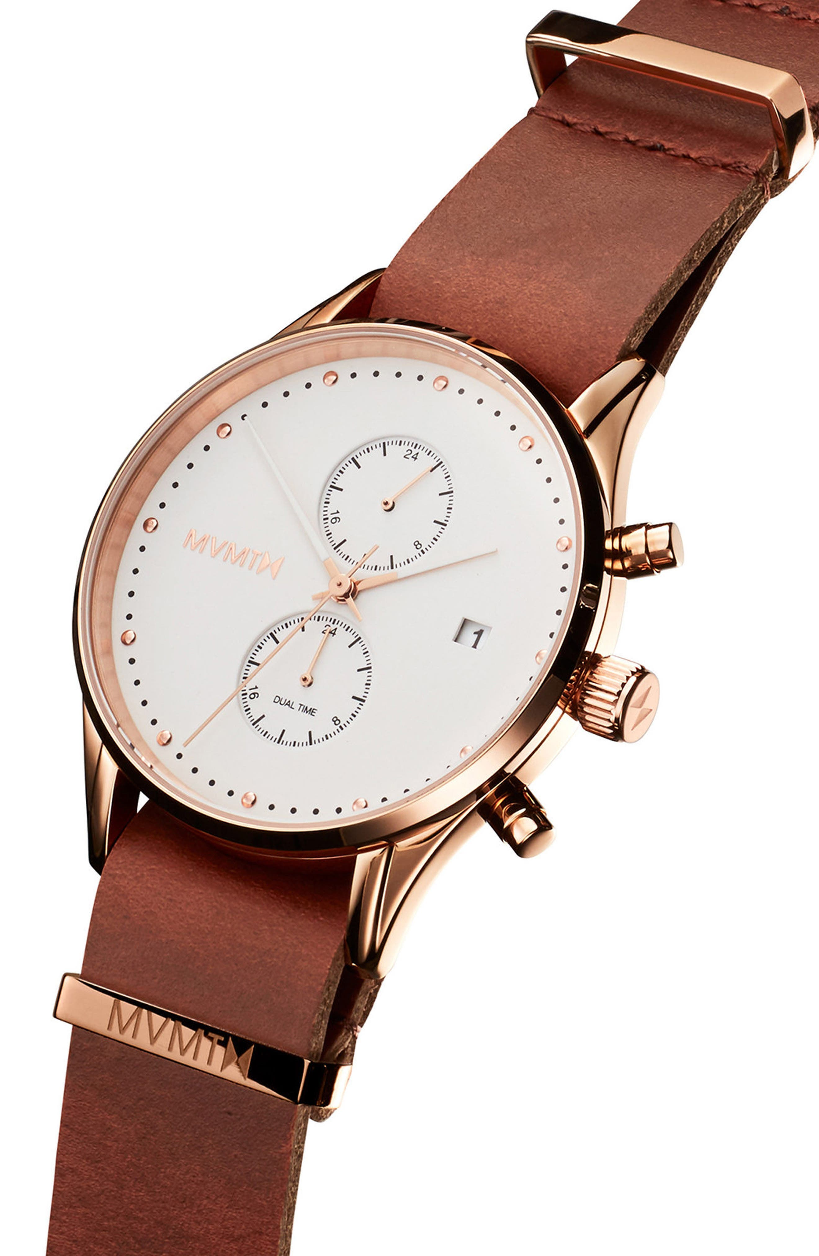 Voyager Chronograph Leather Strap Watch, 42mm,                             Alternate thumbnail 3, color,                             200