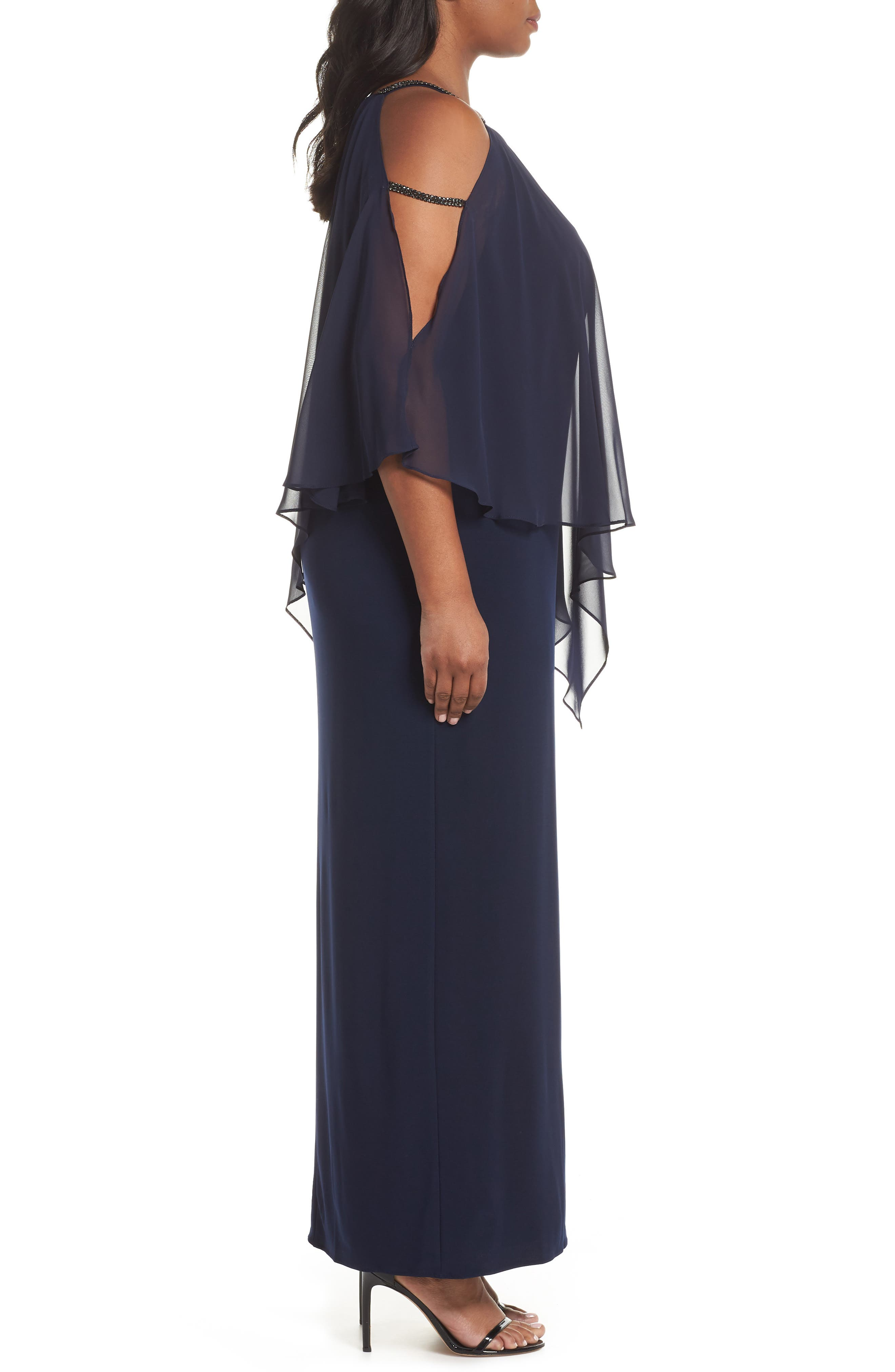 Chiffon Overlay Split Sleeve Gown,                             Alternate thumbnail 3, color,                             NAVY