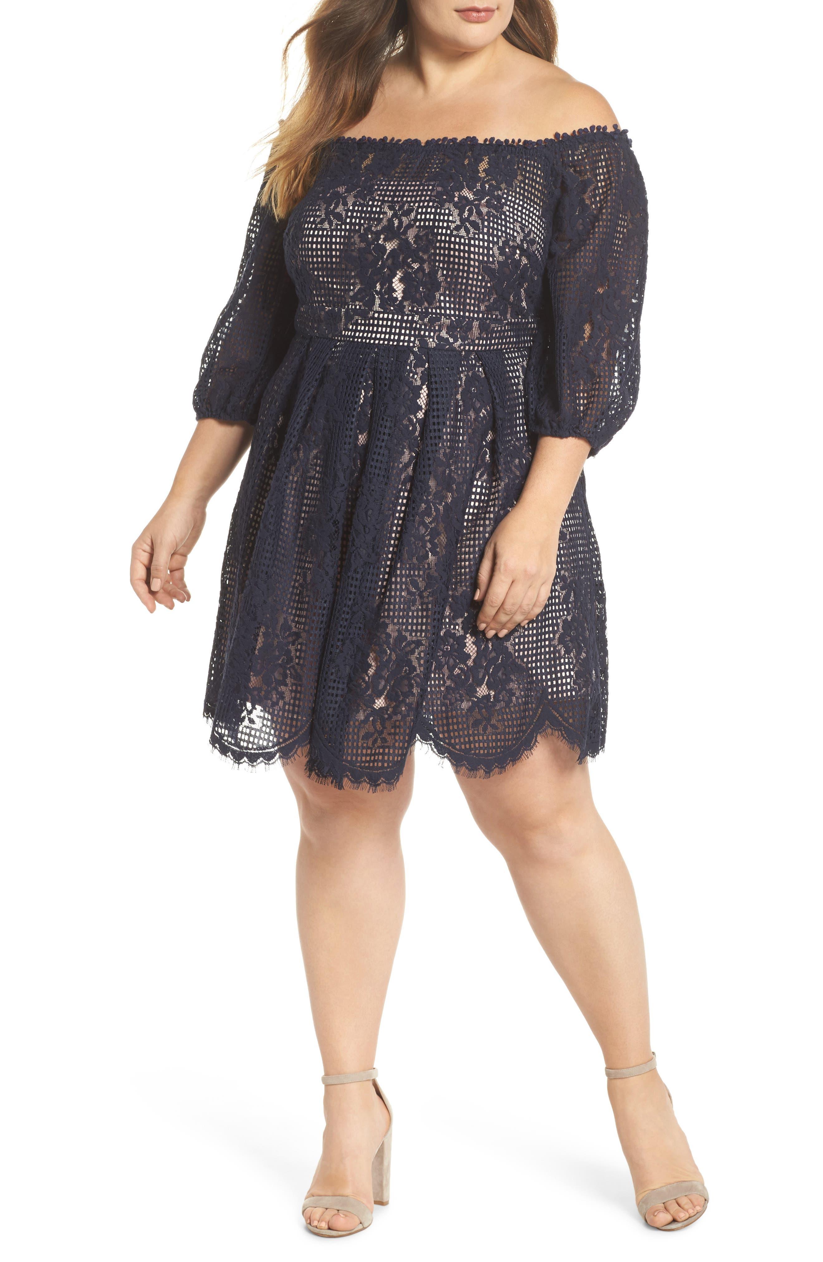 Floral Lace Off the Shoulder Dress,                         Main,                         color, 410