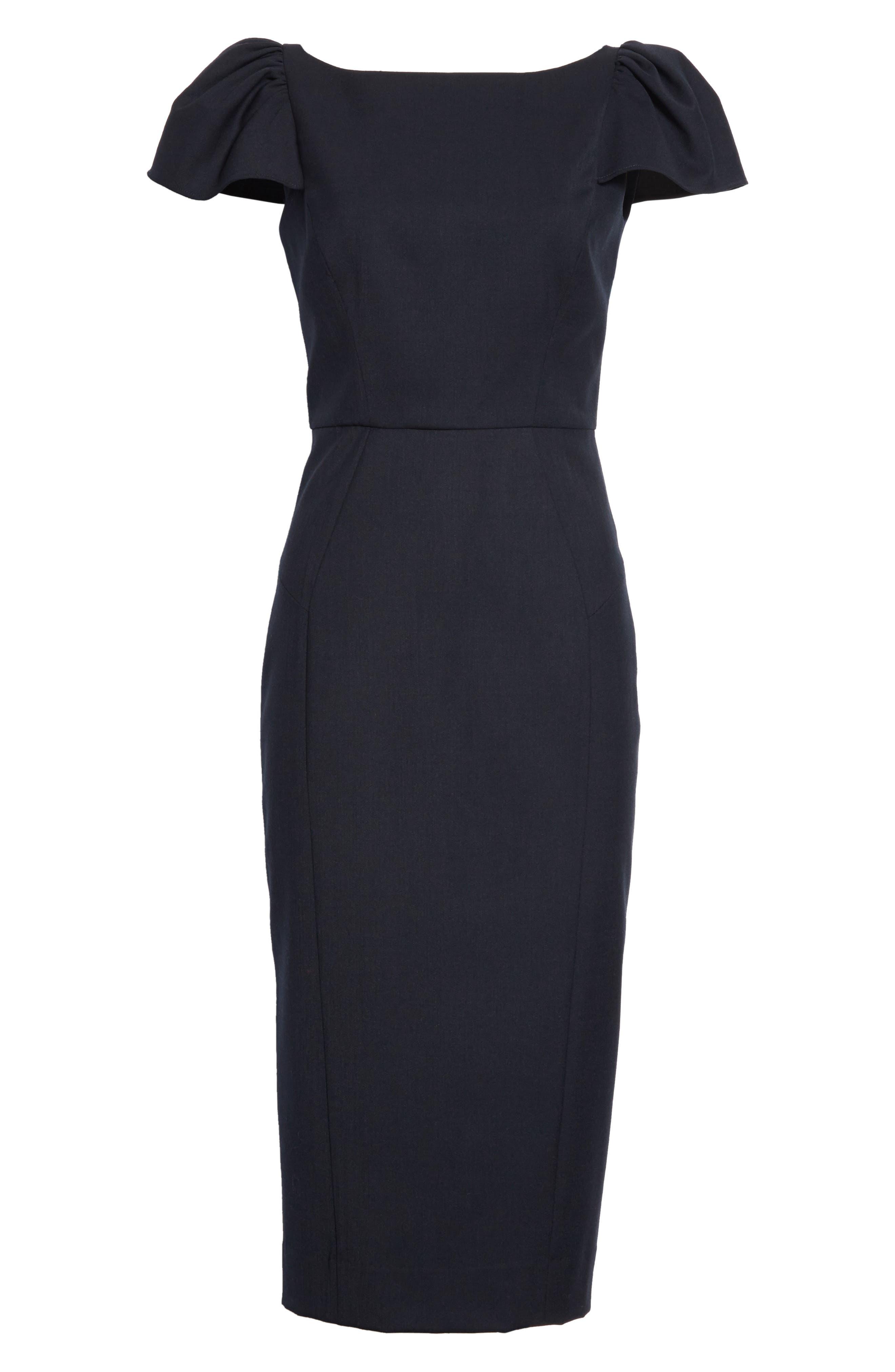 Gabardine Italian Wool Blend Midi Dress,                             Alternate thumbnail 6, color,                             410