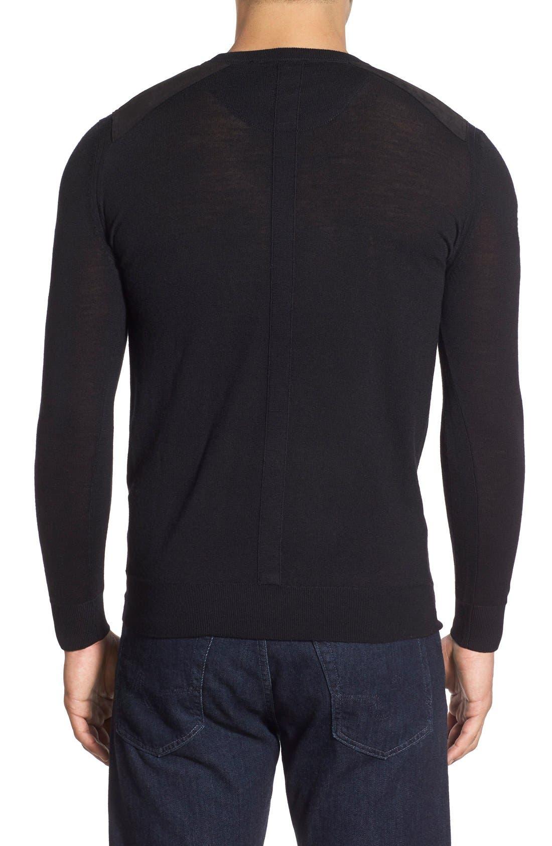 Regular Fit Crewneck Sweater,                             Alternate thumbnail 6, color,                             001