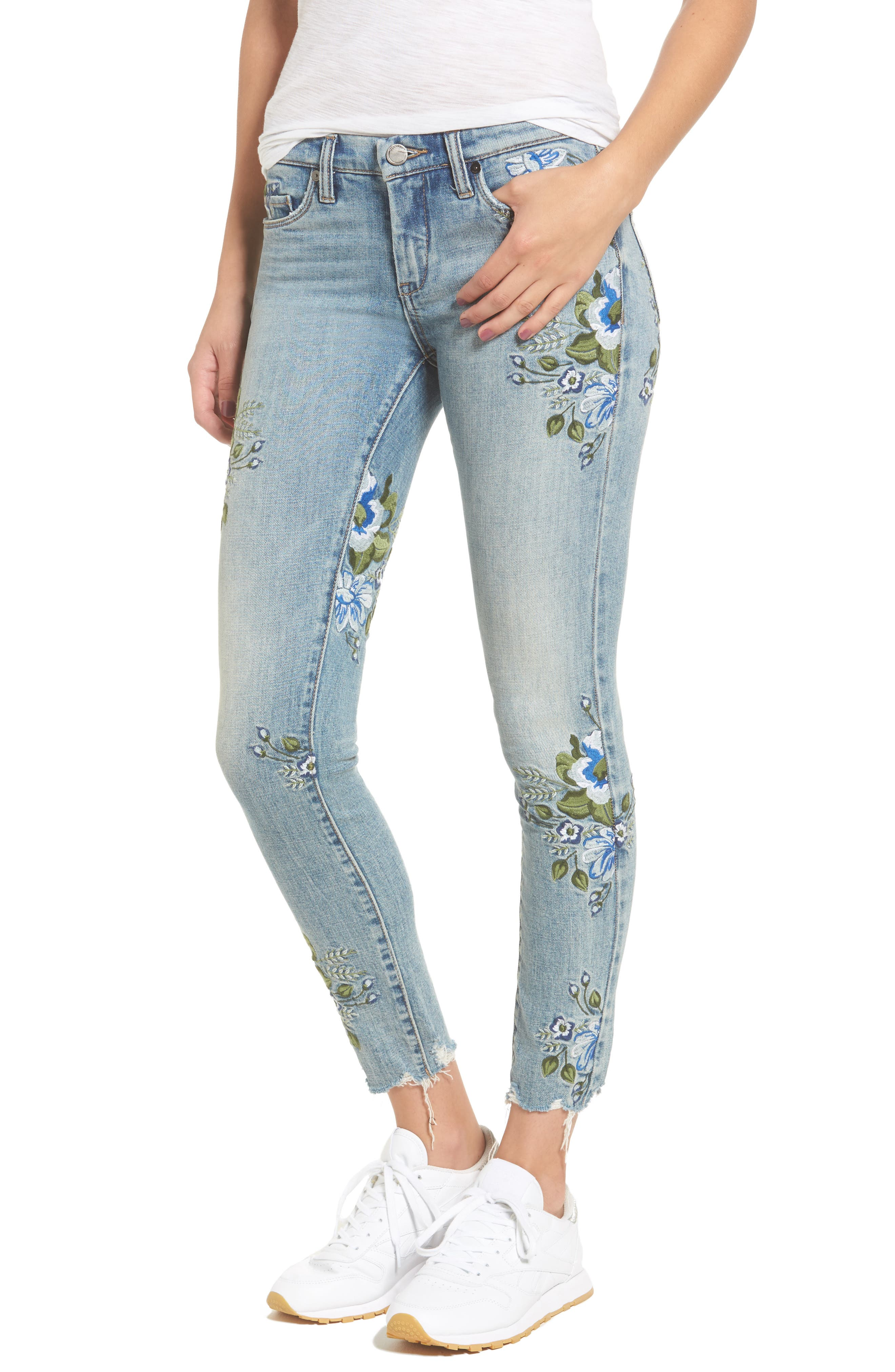 Floral Embroidered Skinny Jeans,                             Main thumbnail 1, color,                             400