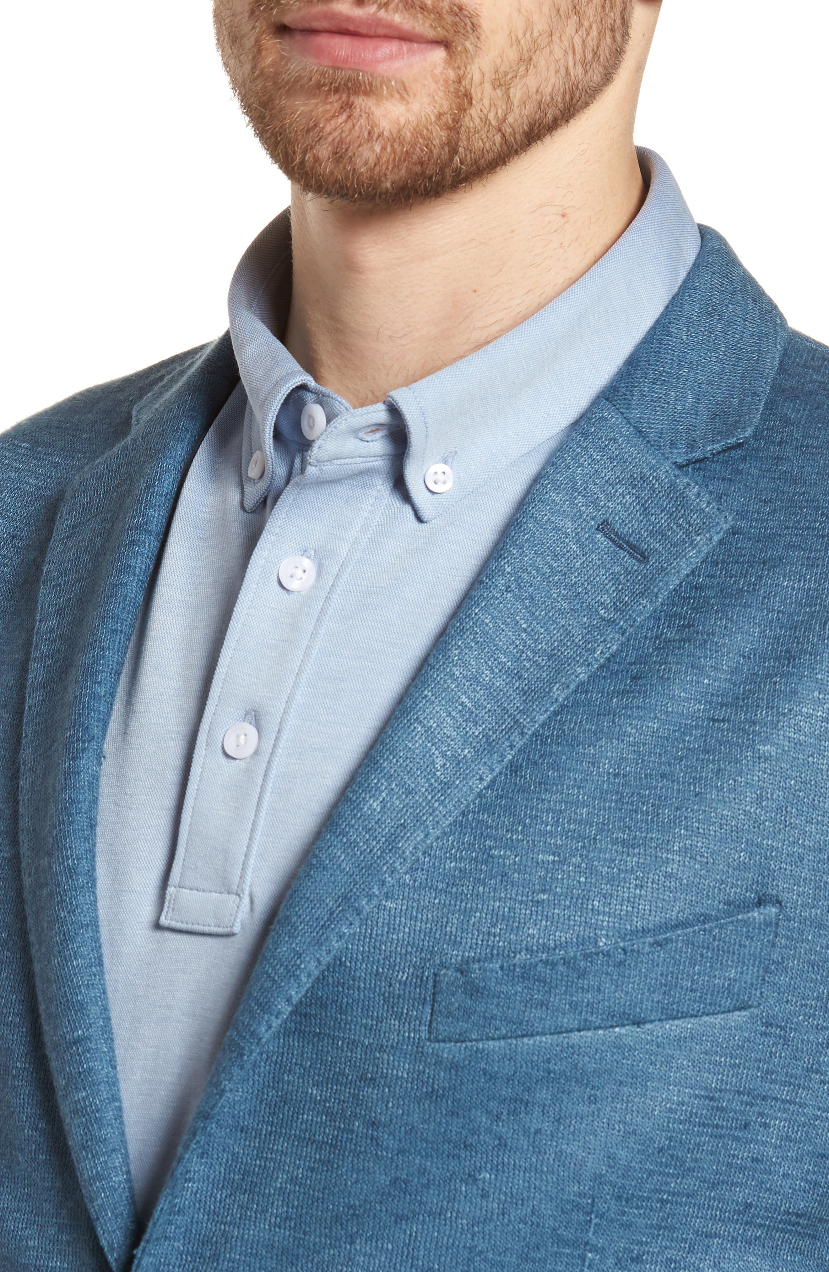 Trim Fit Heathered Jersey Blazer,                             Alternate thumbnail 4, color,                             420