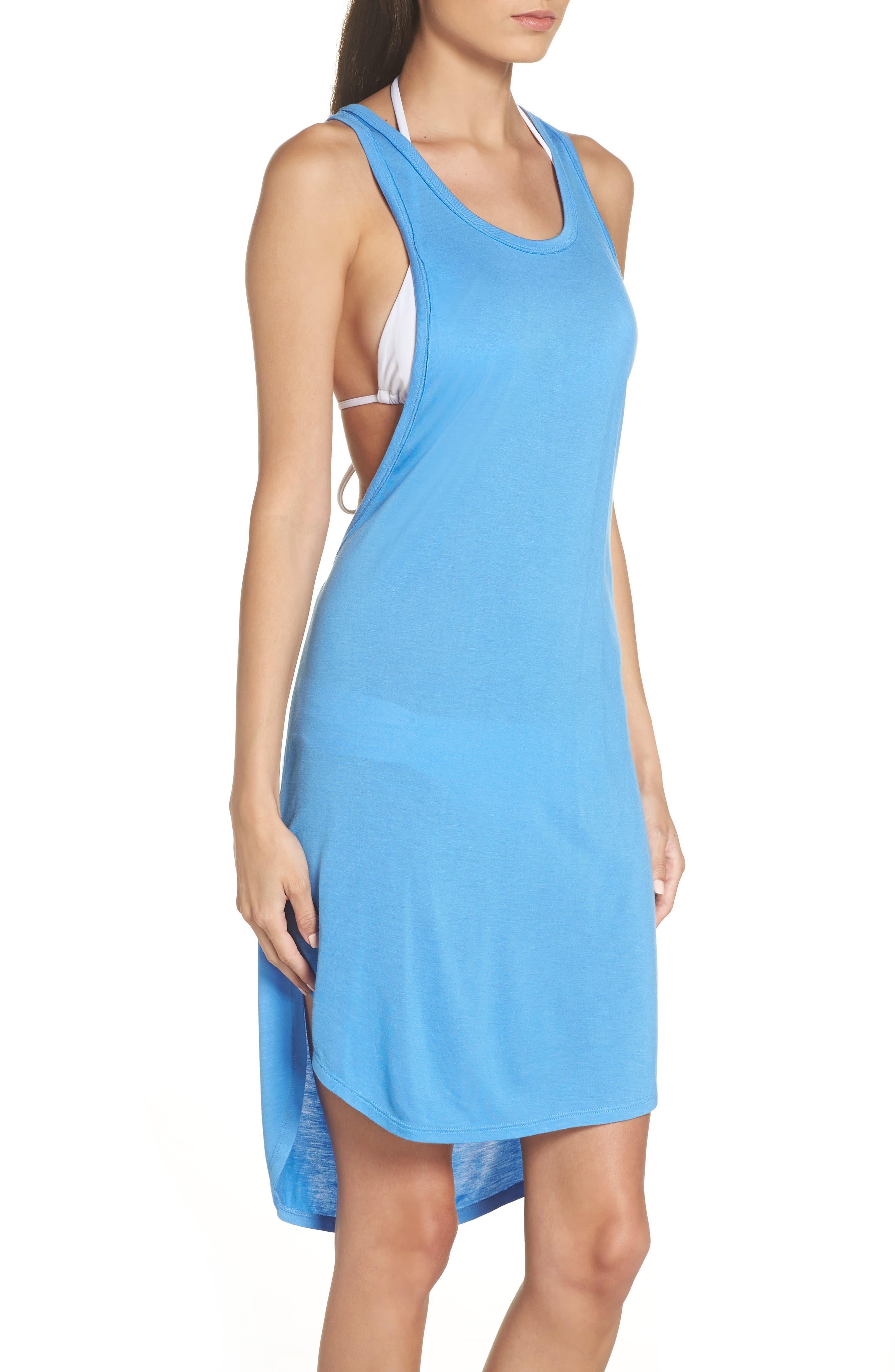 Racerback Cover-Up Tank Dress,                             Alternate thumbnail 3, color,                             BLUE LAPIS