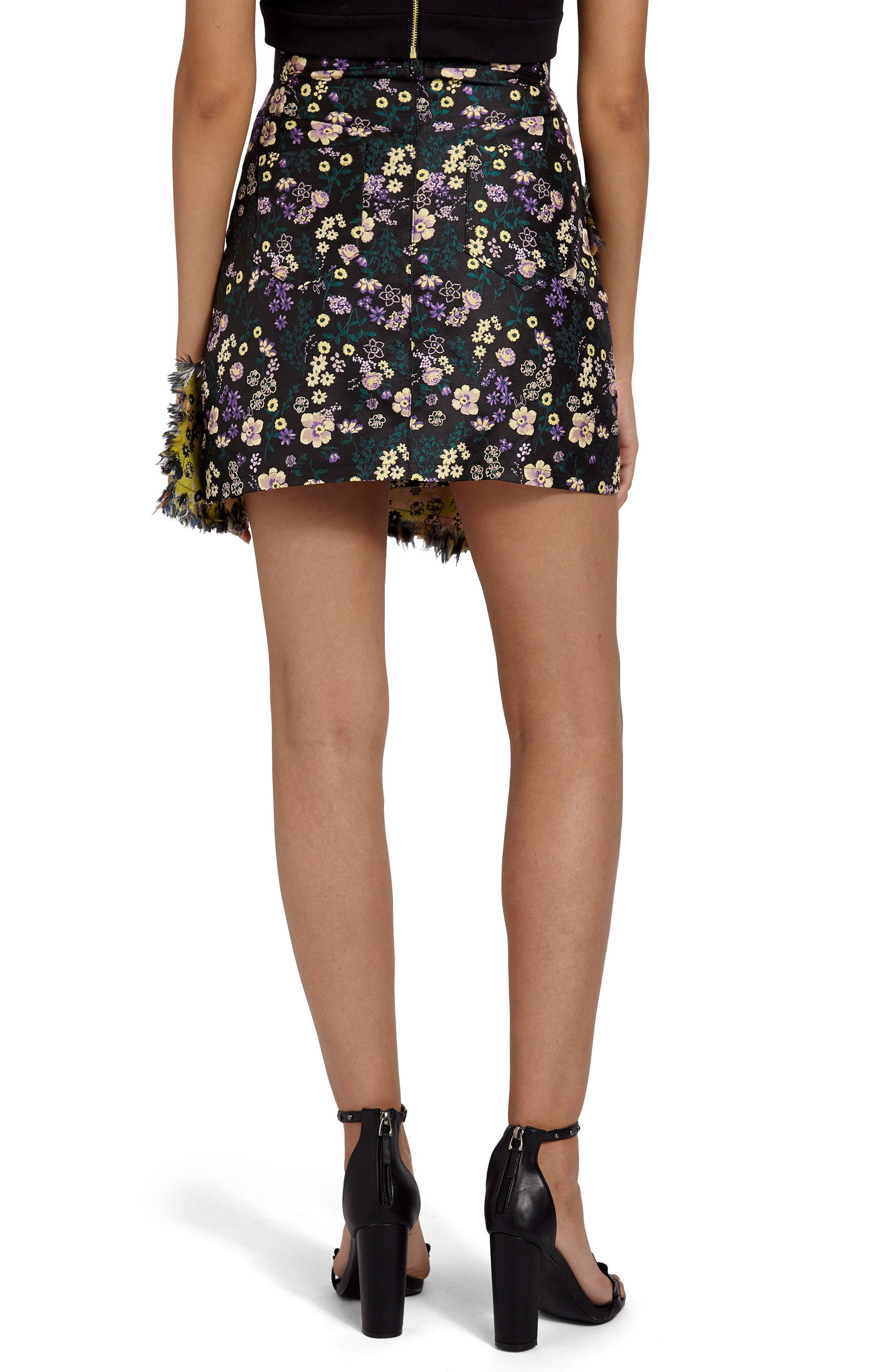 Jacquard Floral Miniskirt,                             Alternate thumbnail 2, color,