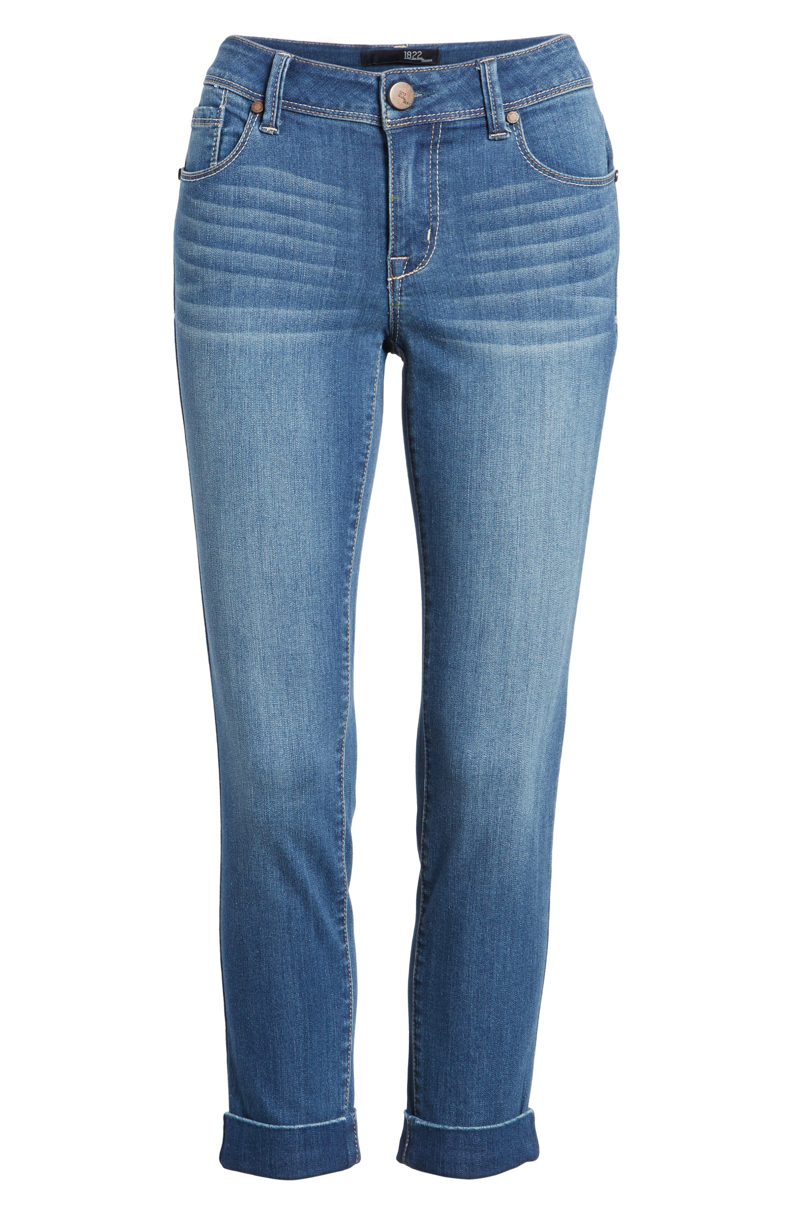 Cuff Roll Skinny Crop Jeans,                             Alternate thumbnail 7, color,                             LOUISE