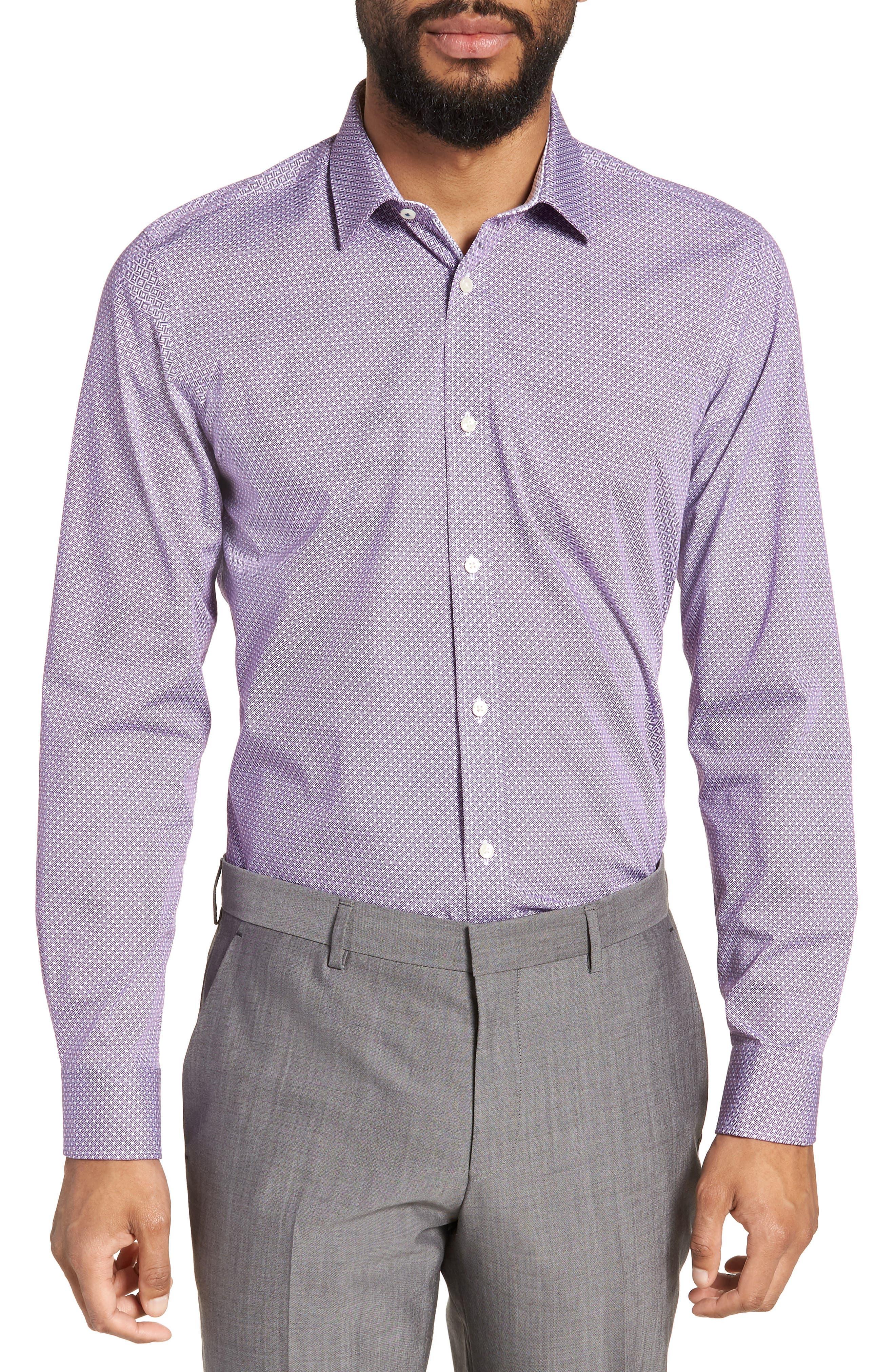 Rugber Slim Fit Print Dress Shirt,                         Main,                         color, PURPLE