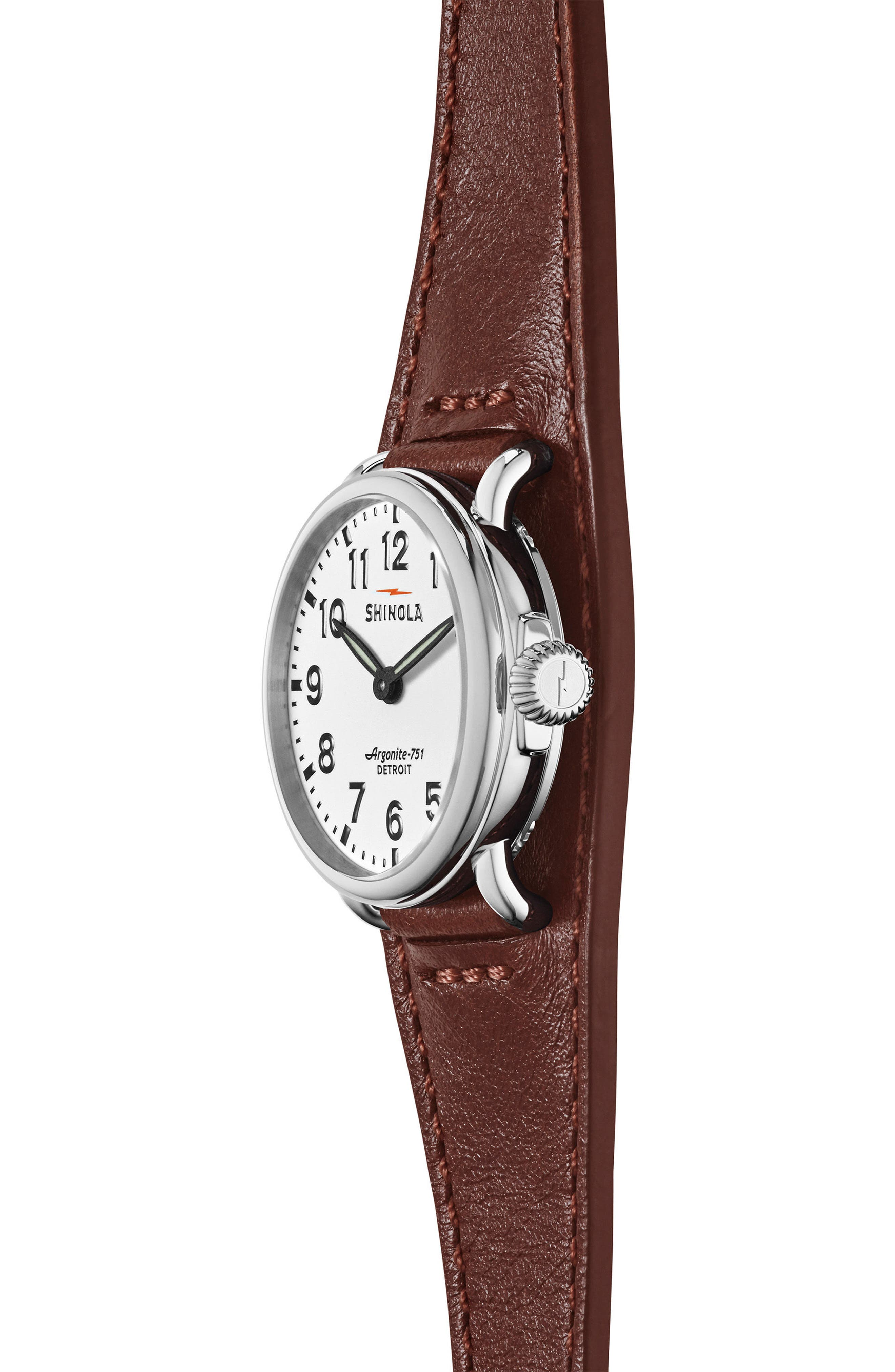Runwell Leather Strap Watch, 28mm,                             Alternate thumbnail 3, color,                             DARK COGNAC