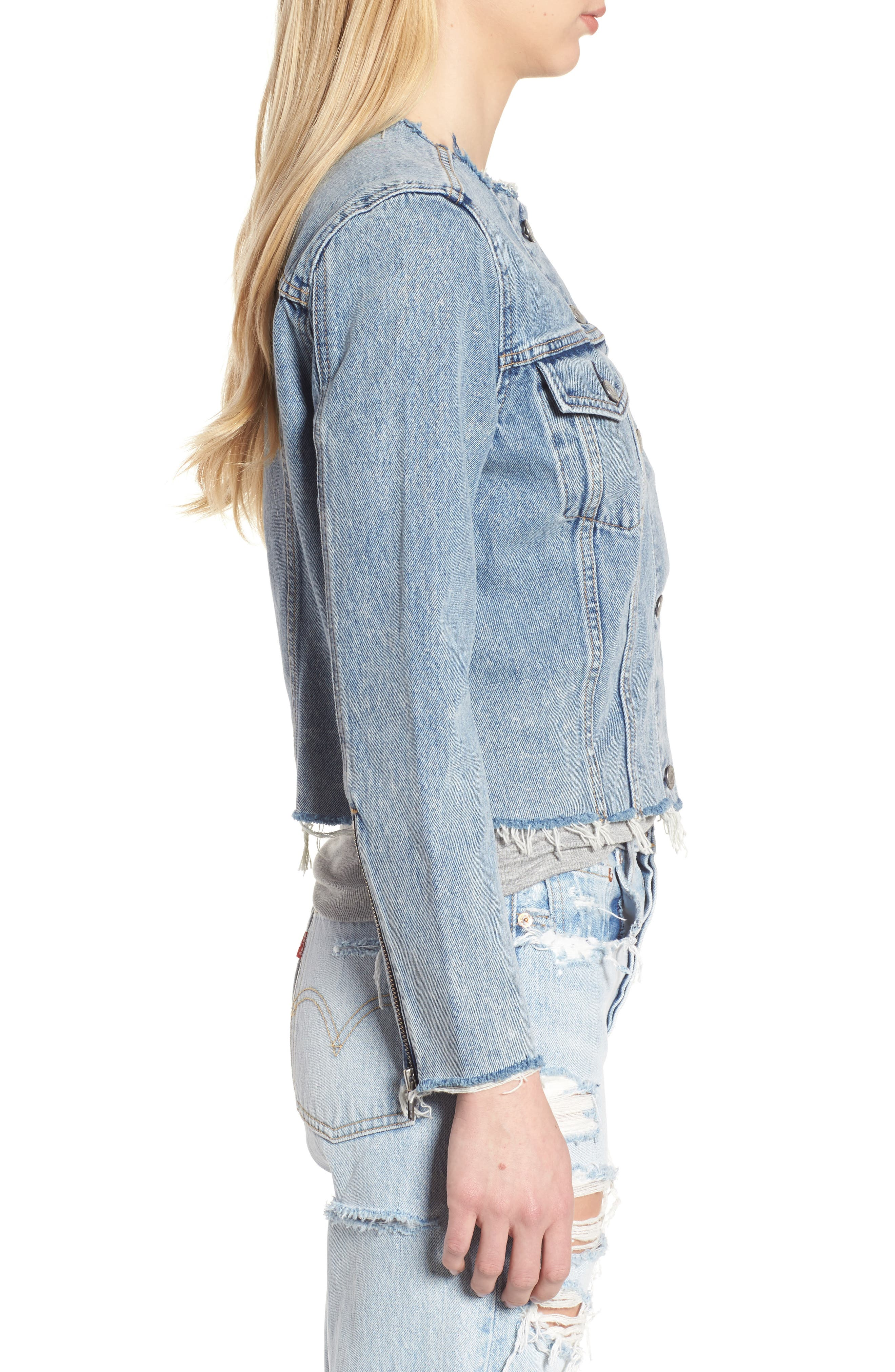 Altered Zip Distressed Trucker Jacket,                             Alternate thumbnail 6, color,