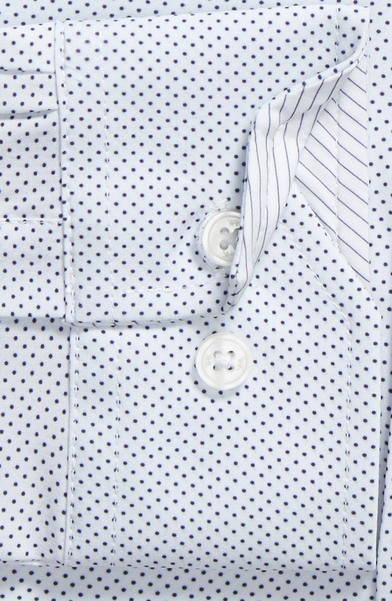 W.R.K,                             Trim Fit Dot 4-Way Stretch Dress Shirt,                             Alternate thumbnail 6, color,                             100