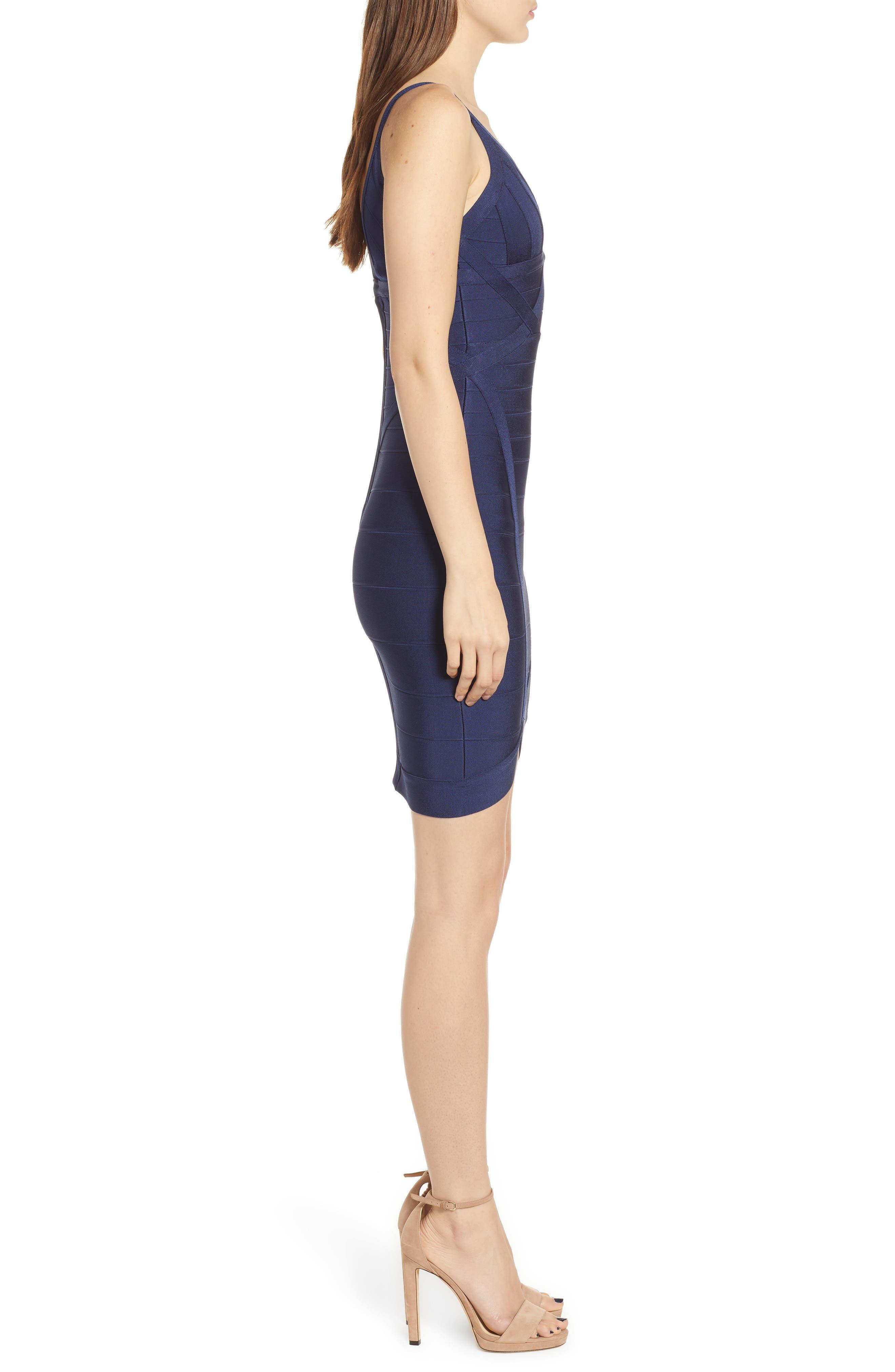 Bandage Body-Con Dress,                             Alternate thumbnail 3, color,                             NAVY BLUE