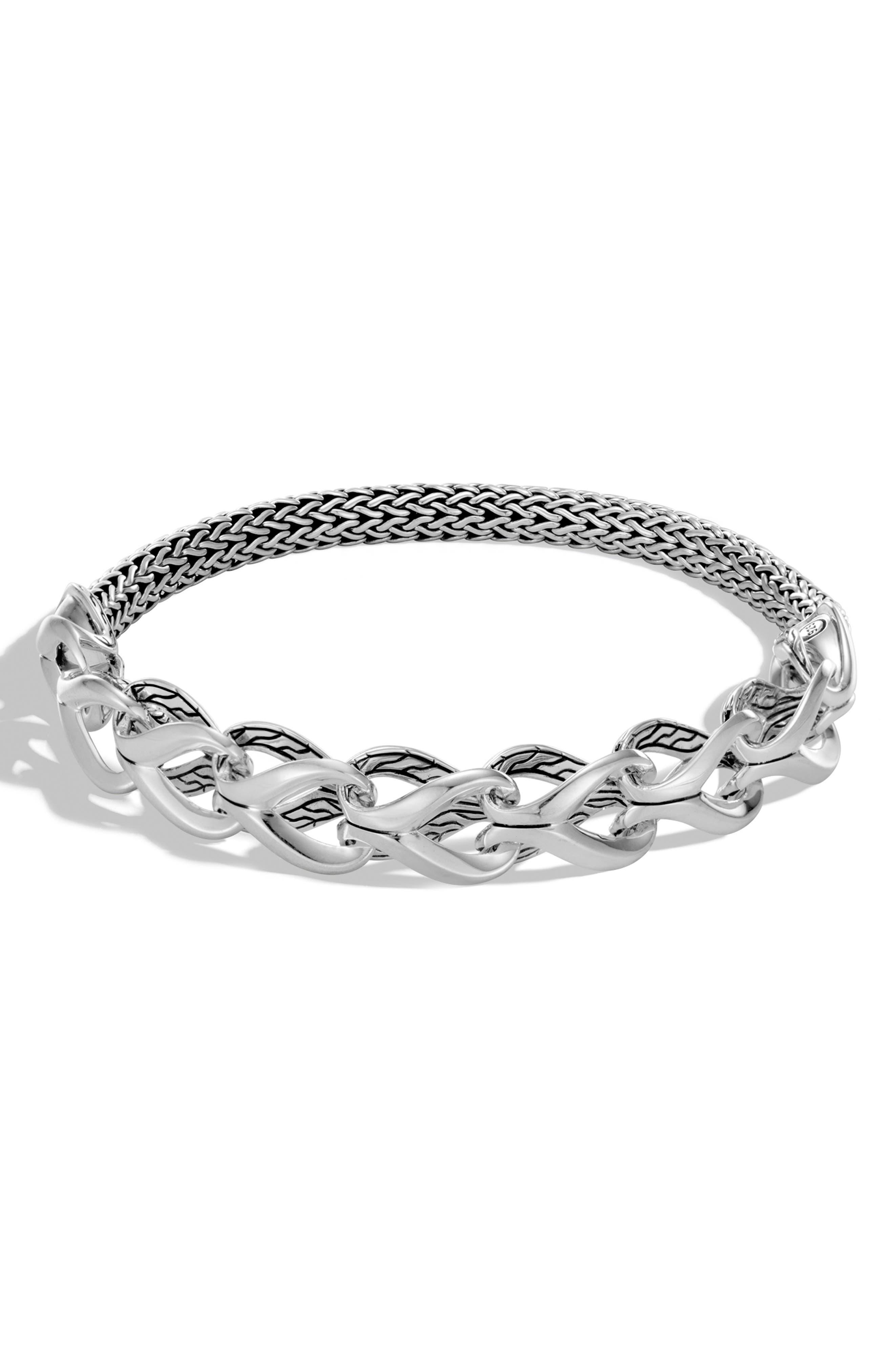 Classic Chain Half Link Bracelet,                             Main thumbnail 1, color,                             SILVER