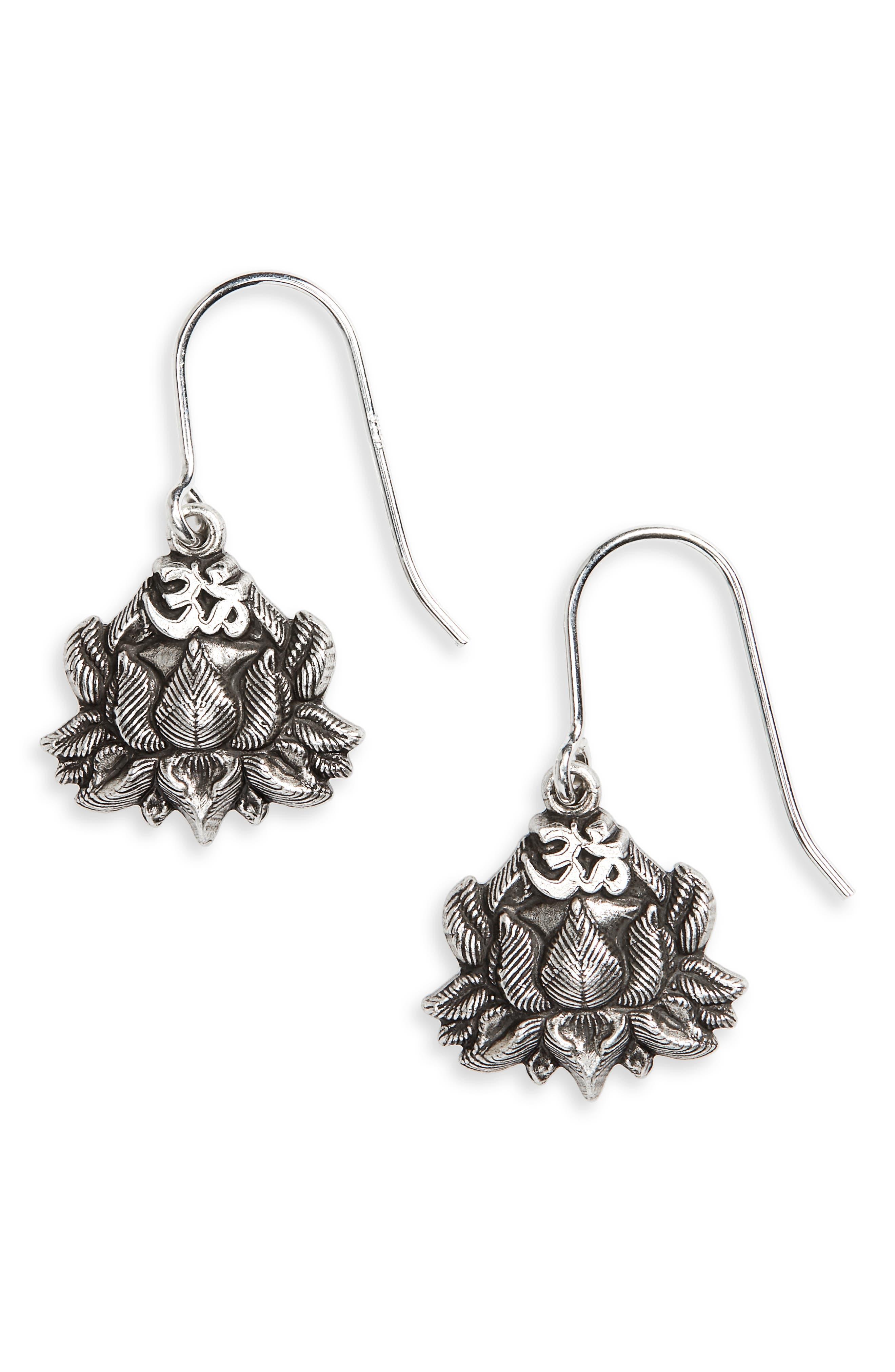 Lotus Peace Petals Drop Earrings,                             Main thumbnail 1, color,                             040