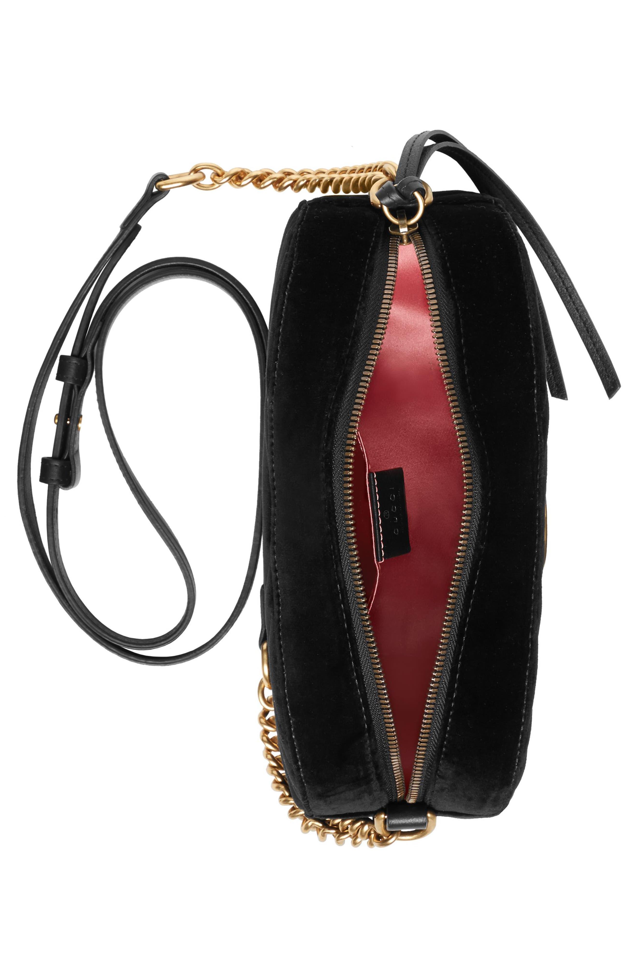 Small GG Marmont 2.0 Matelassé Velvet Shoulder Bag,                             Alternate thumbnail 3, color,                             NERO/ NERO