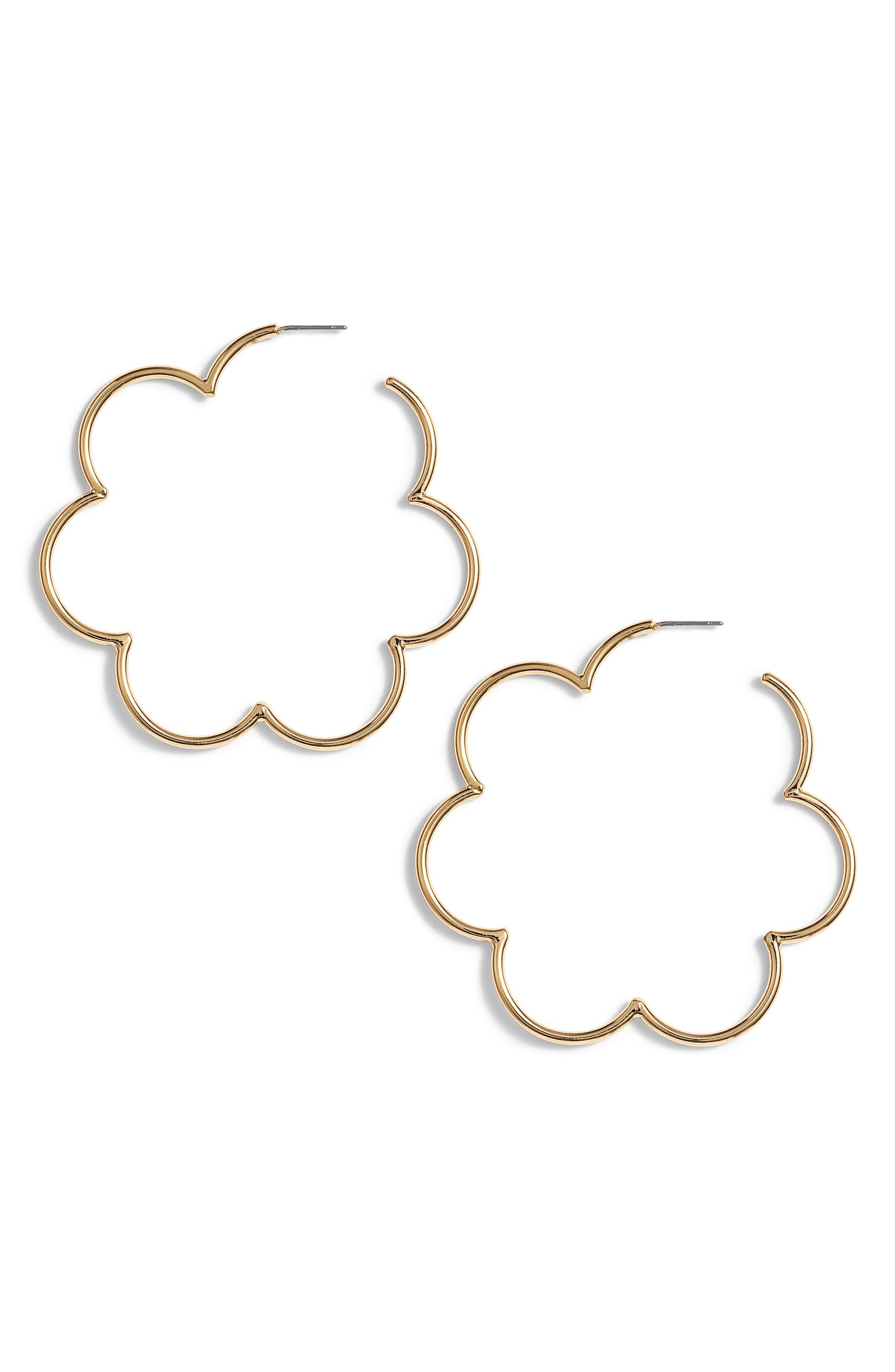 KATE SPADE NEW YORK scrunched scallops large hoop earrings, Main, color, 710
