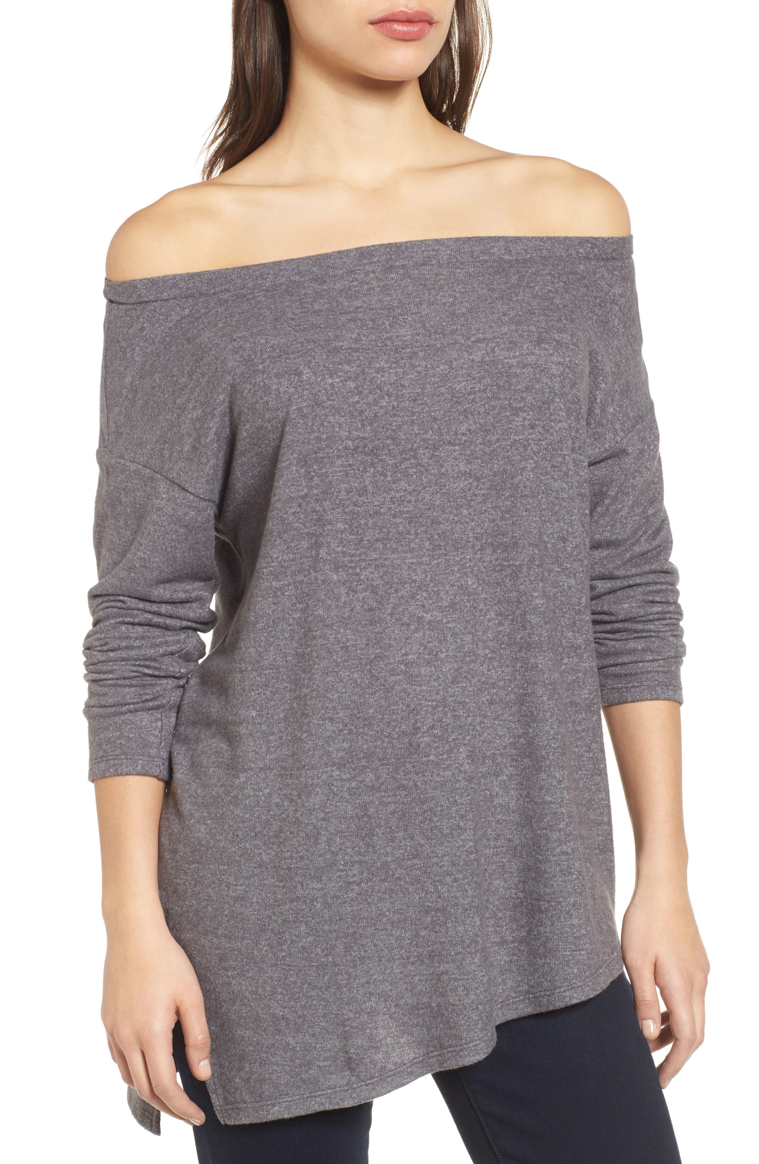 Asymmetrical Cozy Fleece Convertible Top,                             Alternate thumbnail 2, color,                             020