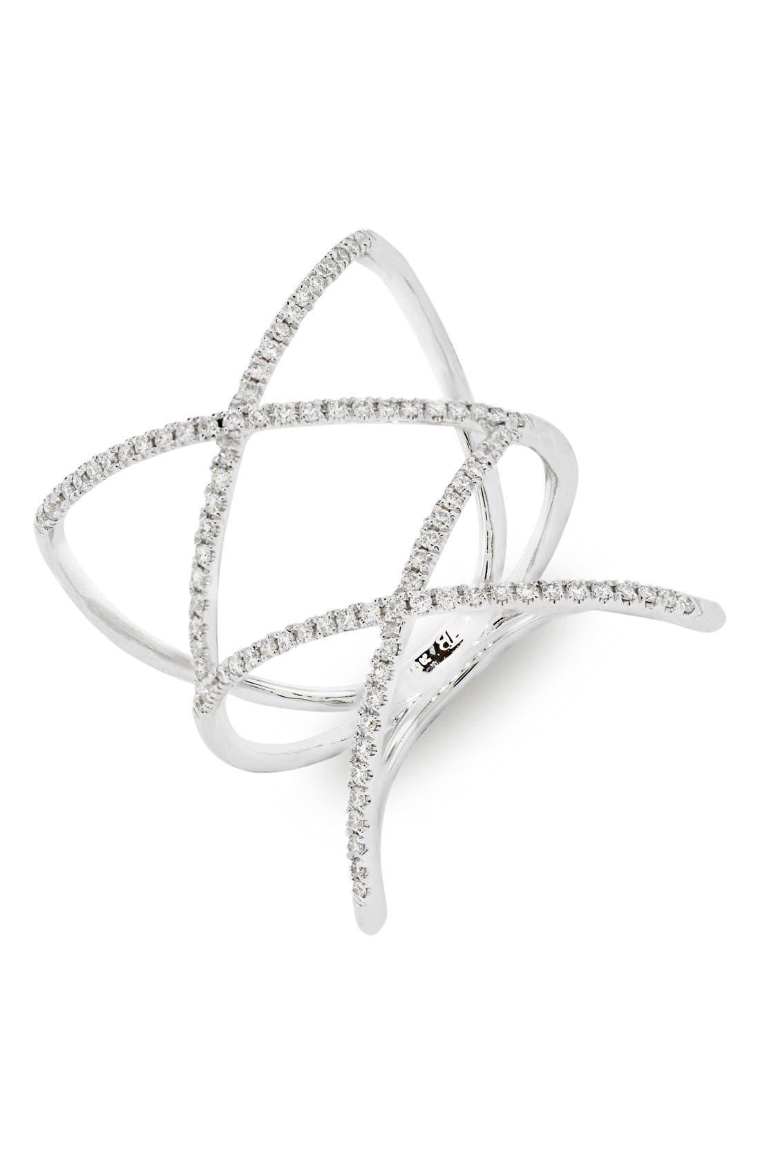 Diamond Double Crisscross Ring,                         Main,                         color, WHITE GOLD