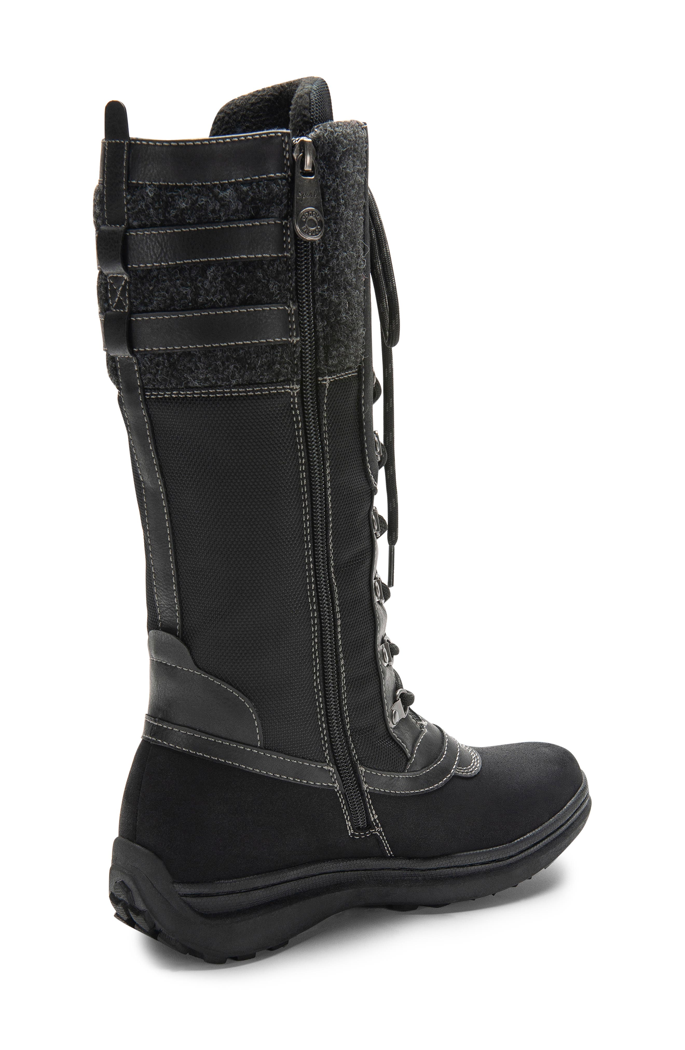 India Waterproof Snow Boot,                             Alternate thumbnail 2, color,                             BLACK LEATHER