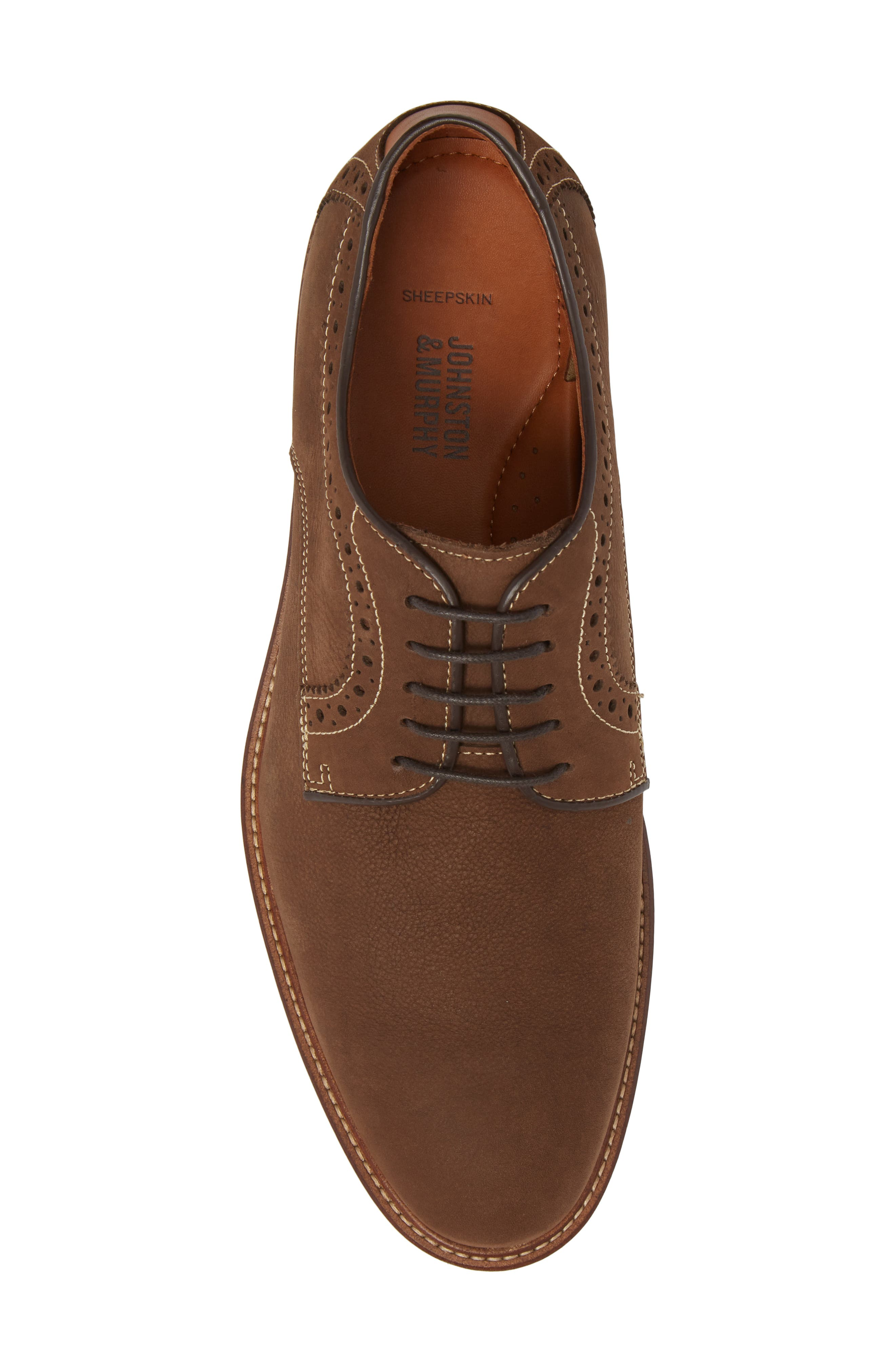Warner Plain Toe Derby,                             Alternate thumbnail 5, color,                             BROWN NUBUCK