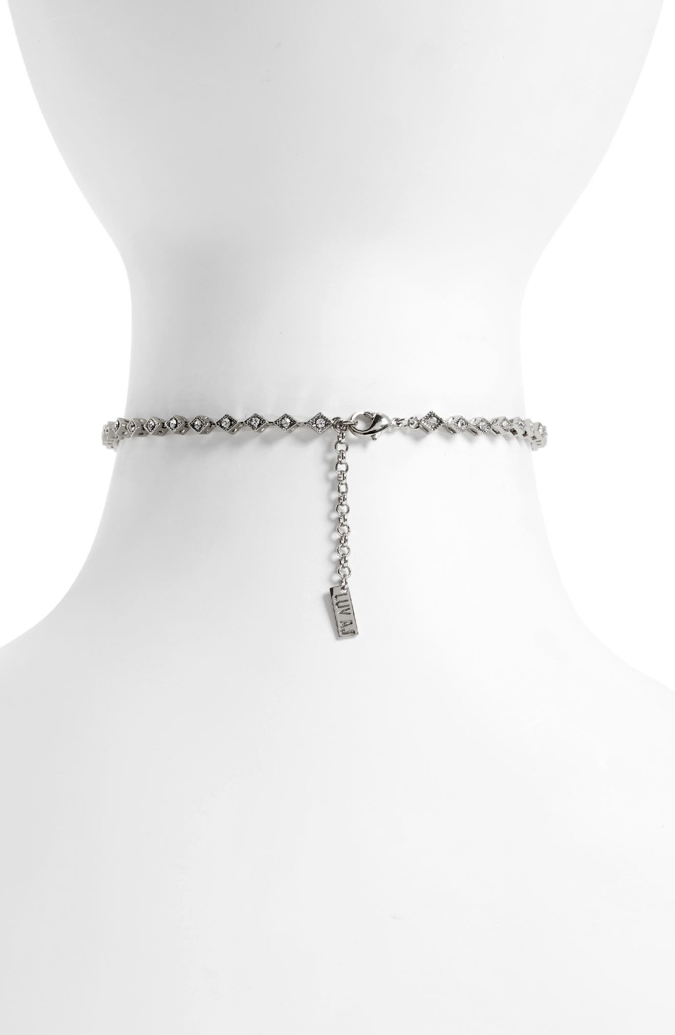 Crystal Cubic Zirconia Choker Necklace,                             Alternate thumbnail 2, color,                             040