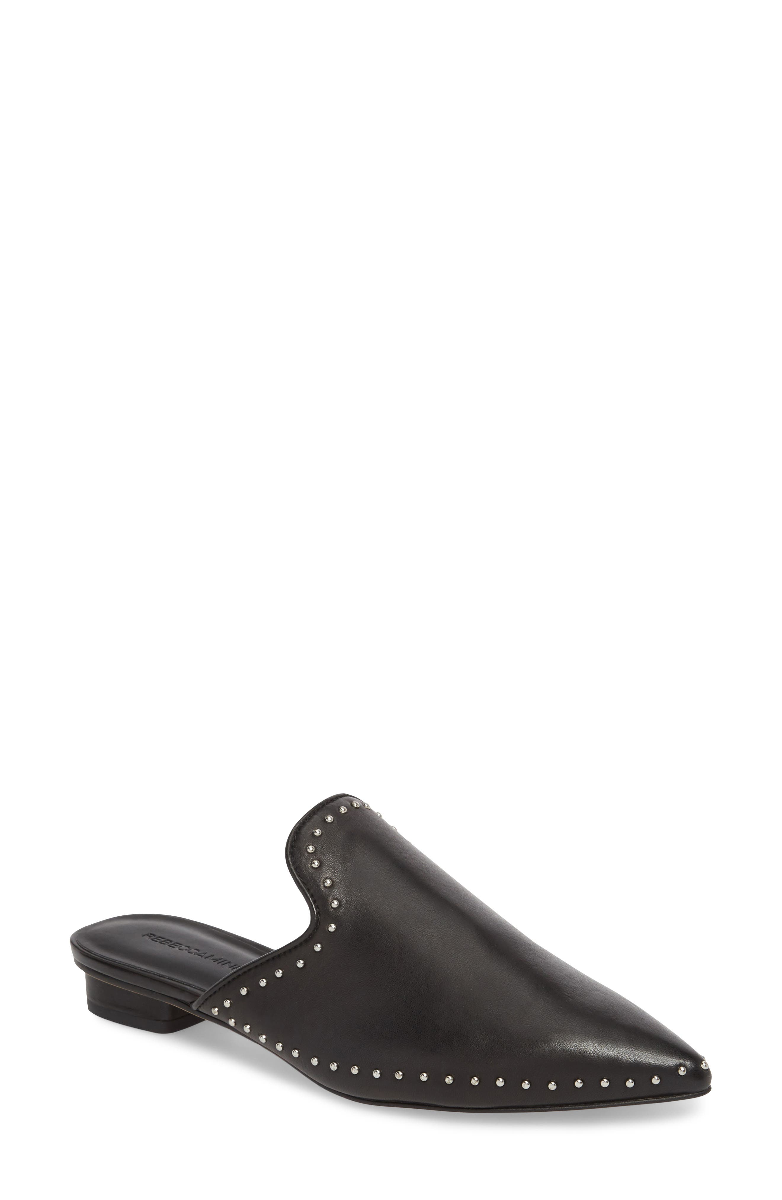 Chamille Studded Mule,                         Main,                         color, BLACK LEATHER