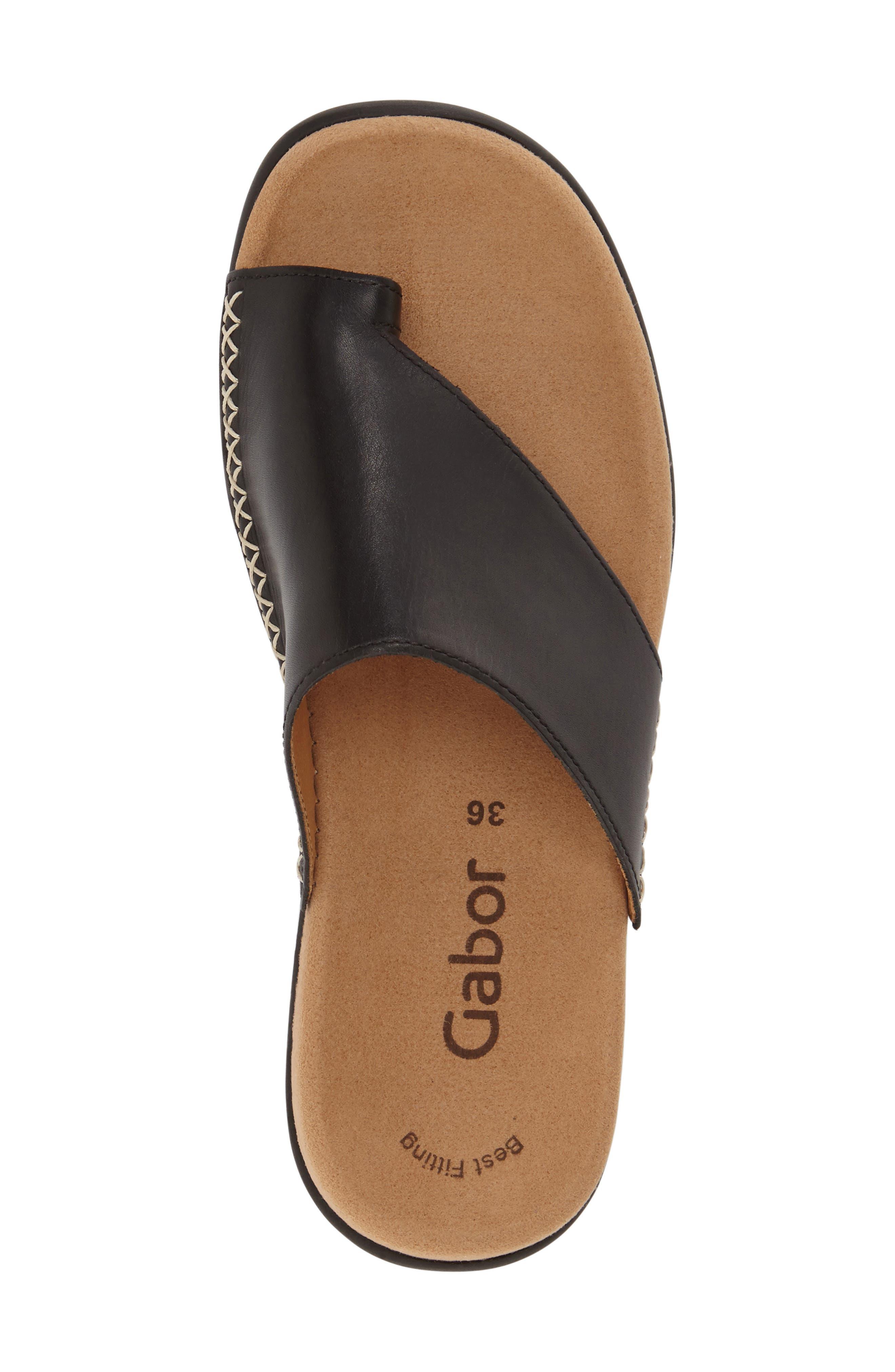 Toe Loop Sandal,                             Alternate thumbnail 5, color,                             BLACK NUBUCK LEATHER