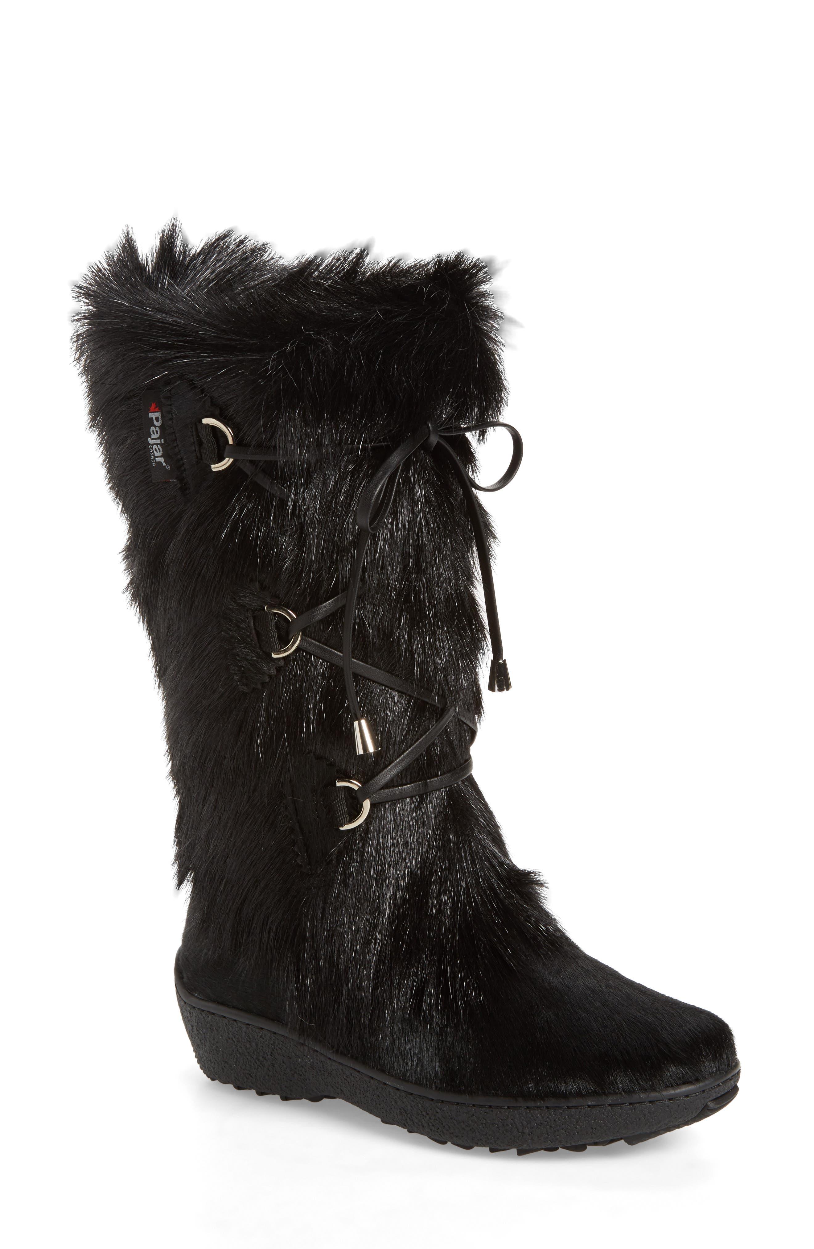 Davos Genuine Goat Fur Boot,                             Main thumbnail 1, color,                             001