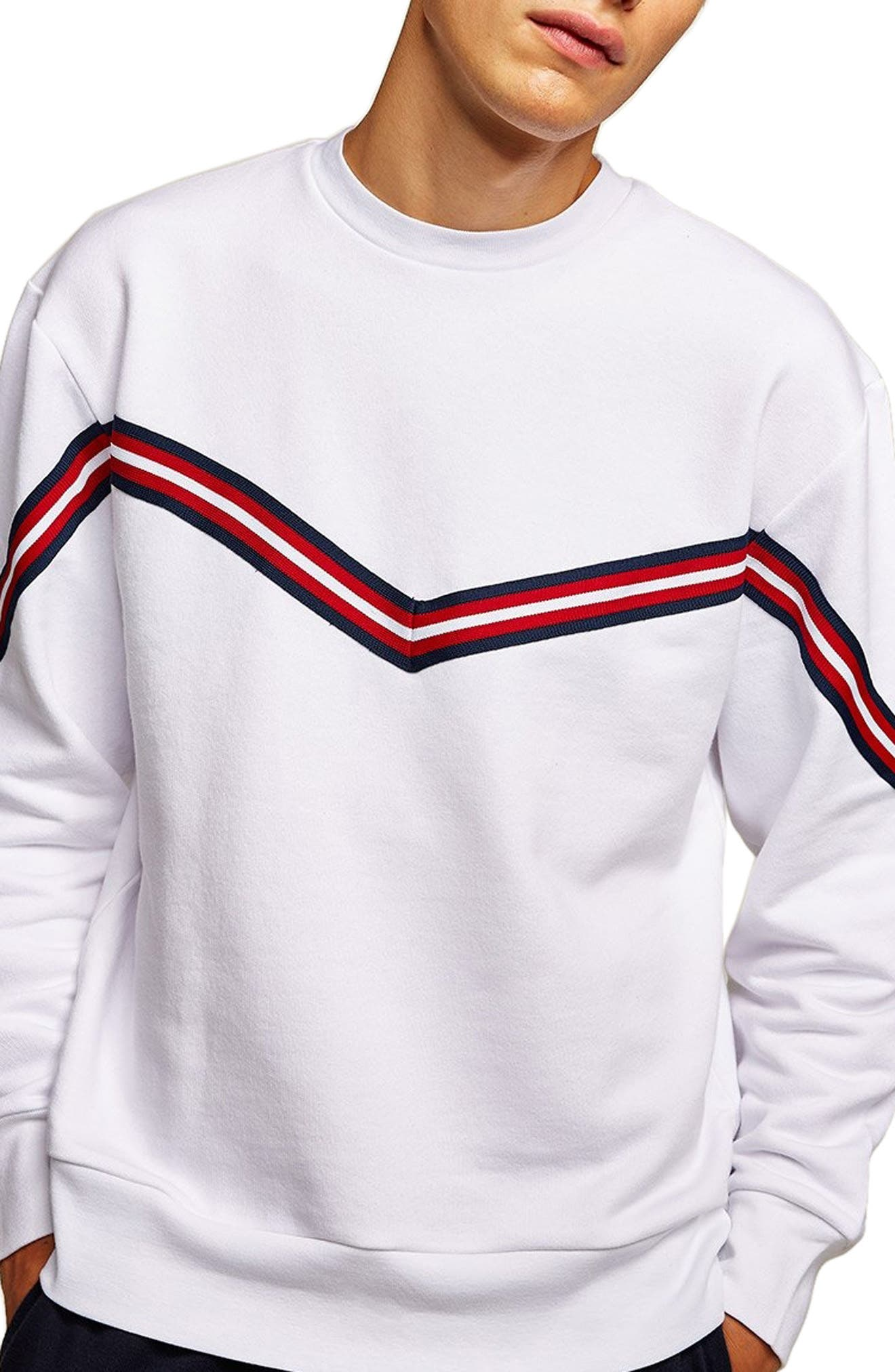 Chevron Tape Sweatshirt,                             Main thumbnail 1, color,                             WHITE MULTI
