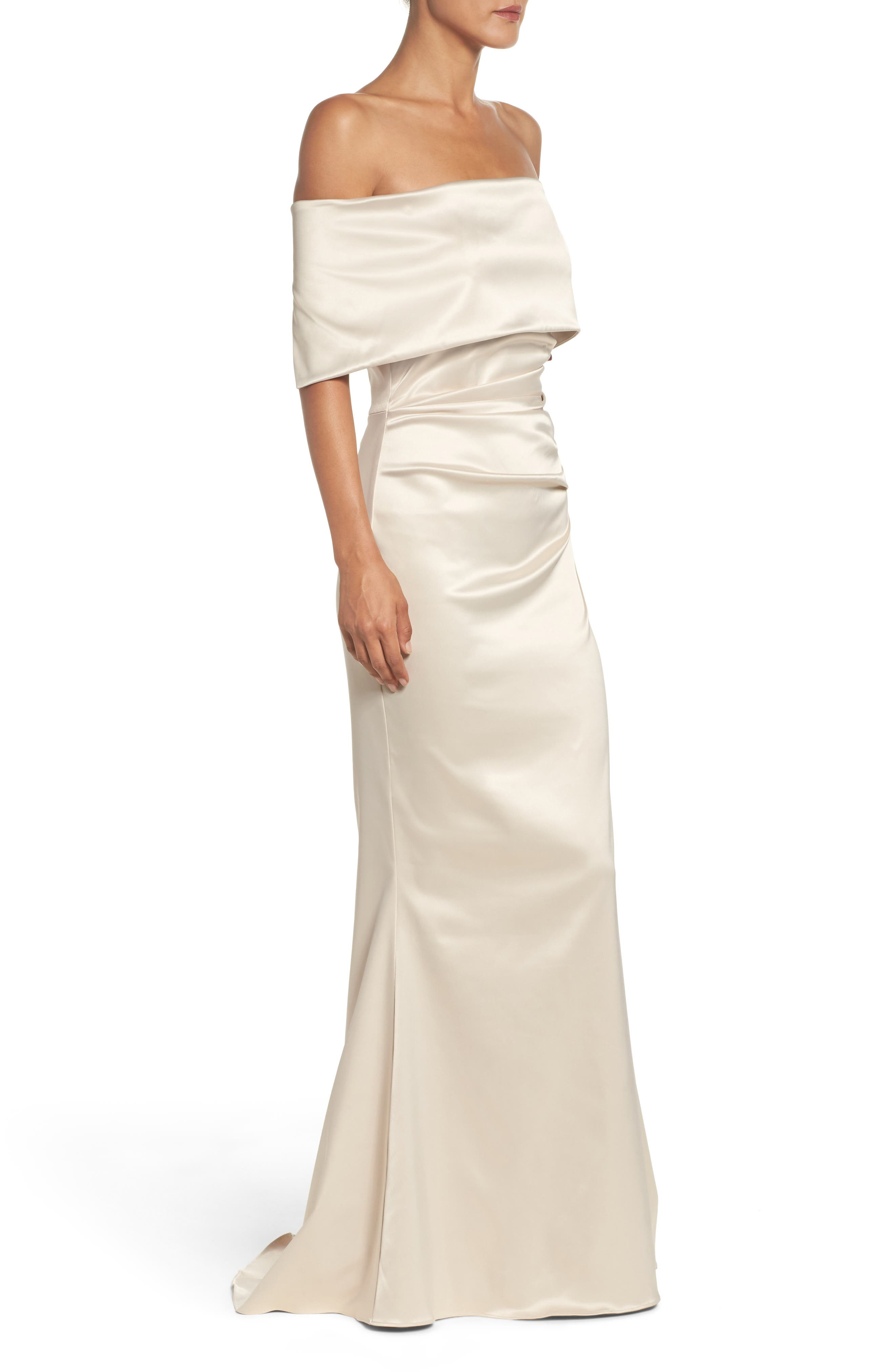 VINCE CAMUTO,                             Off the Shoulder Gown,                             Alternate thumbnail 3, color,                             CHAMPAGNE